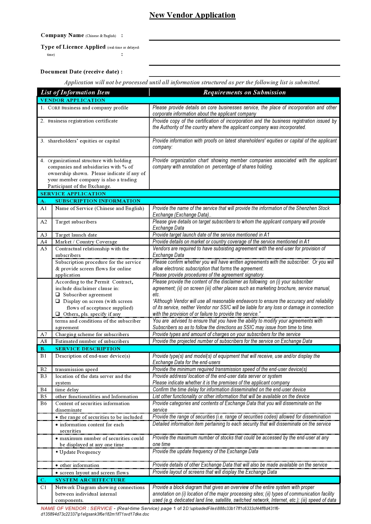 vendor application form 11