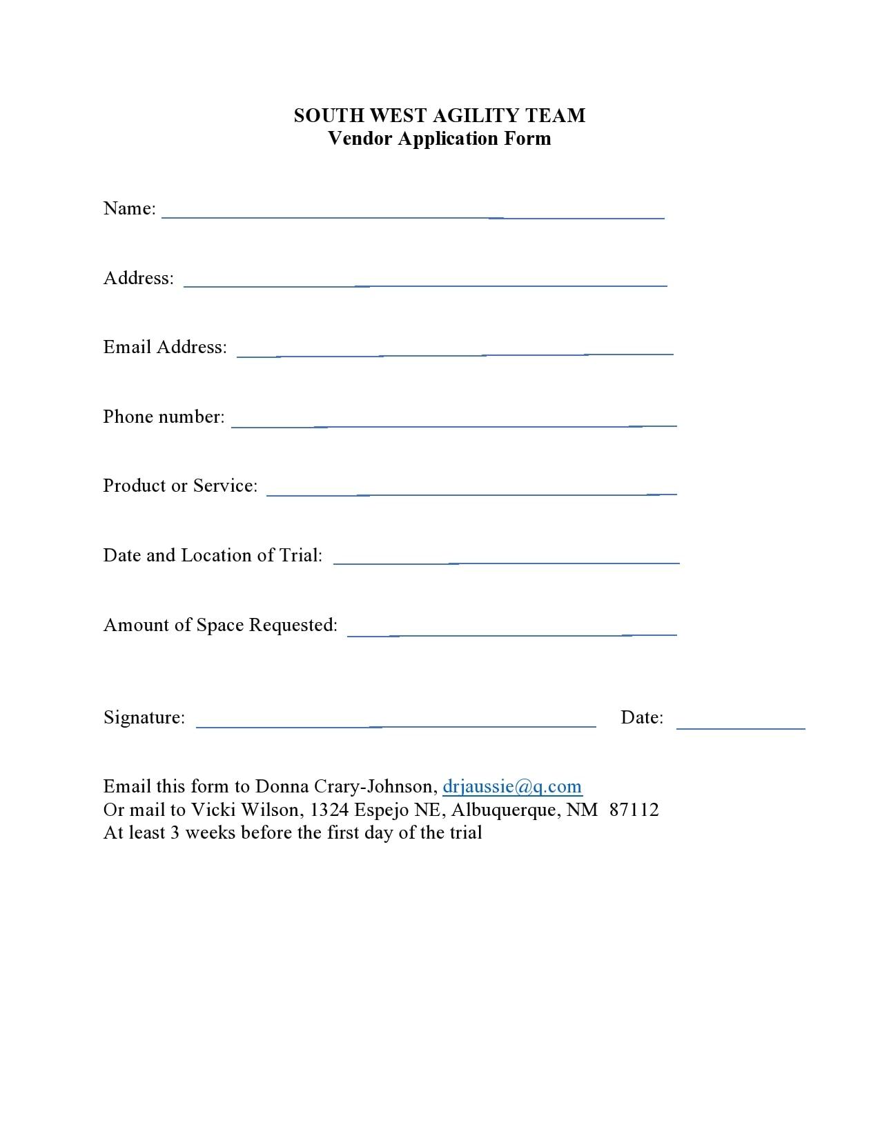 vendor application form 15
