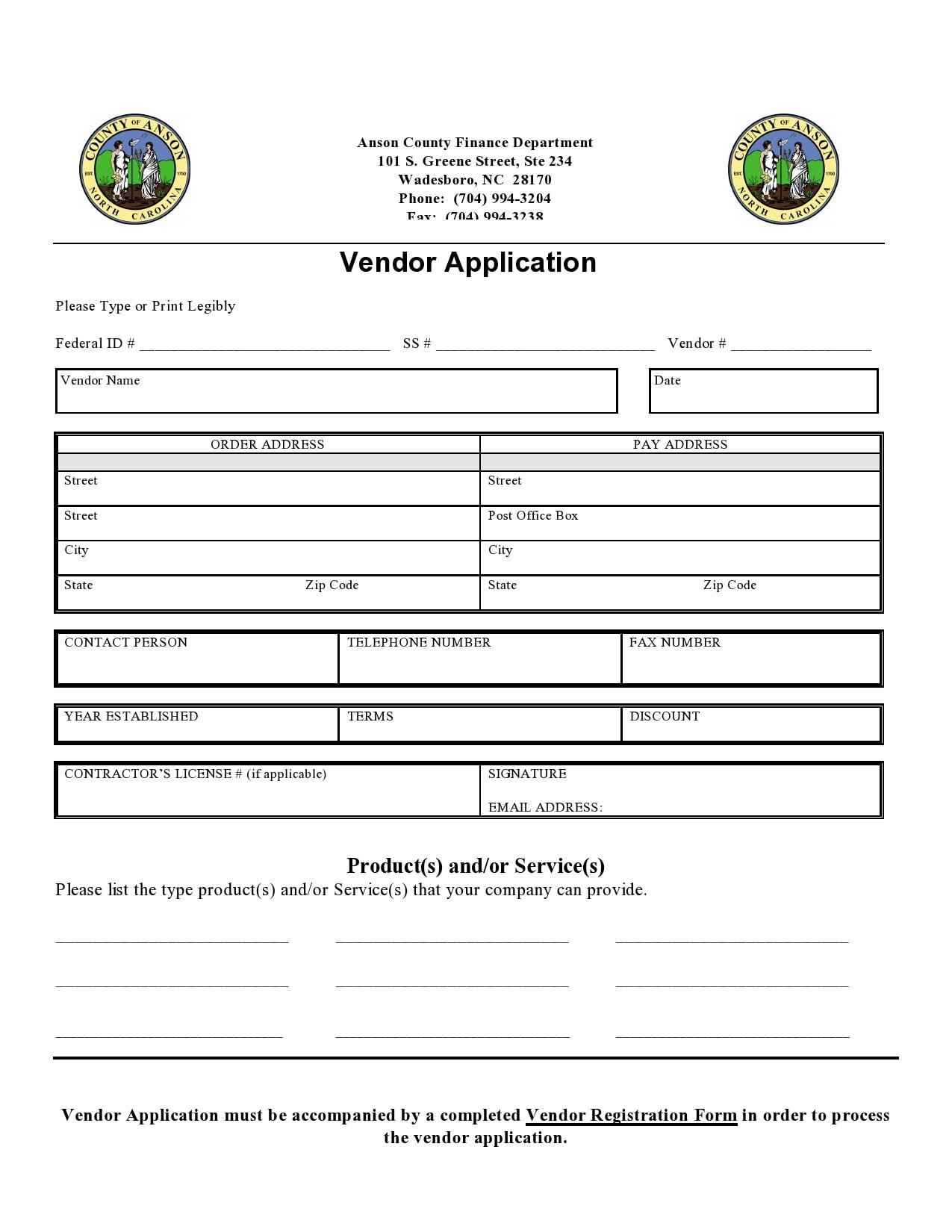 vendor application form 19