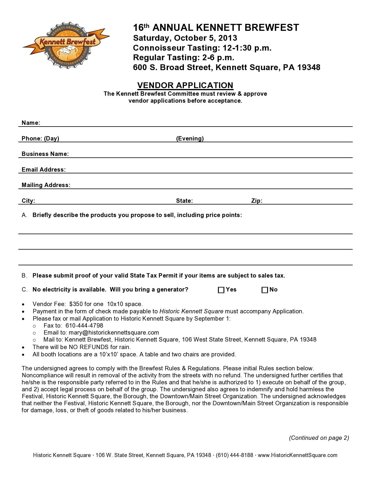 vendor application form 25