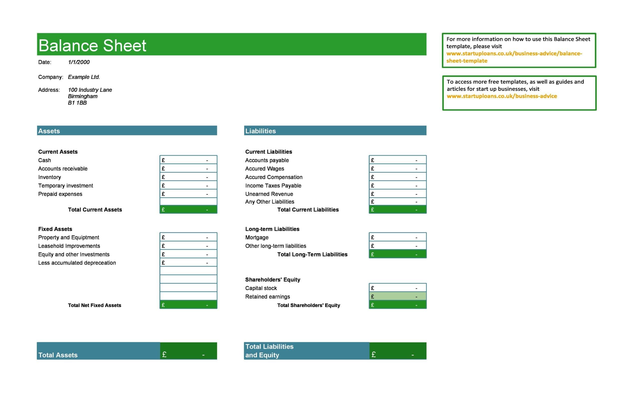 balance sheet template 10