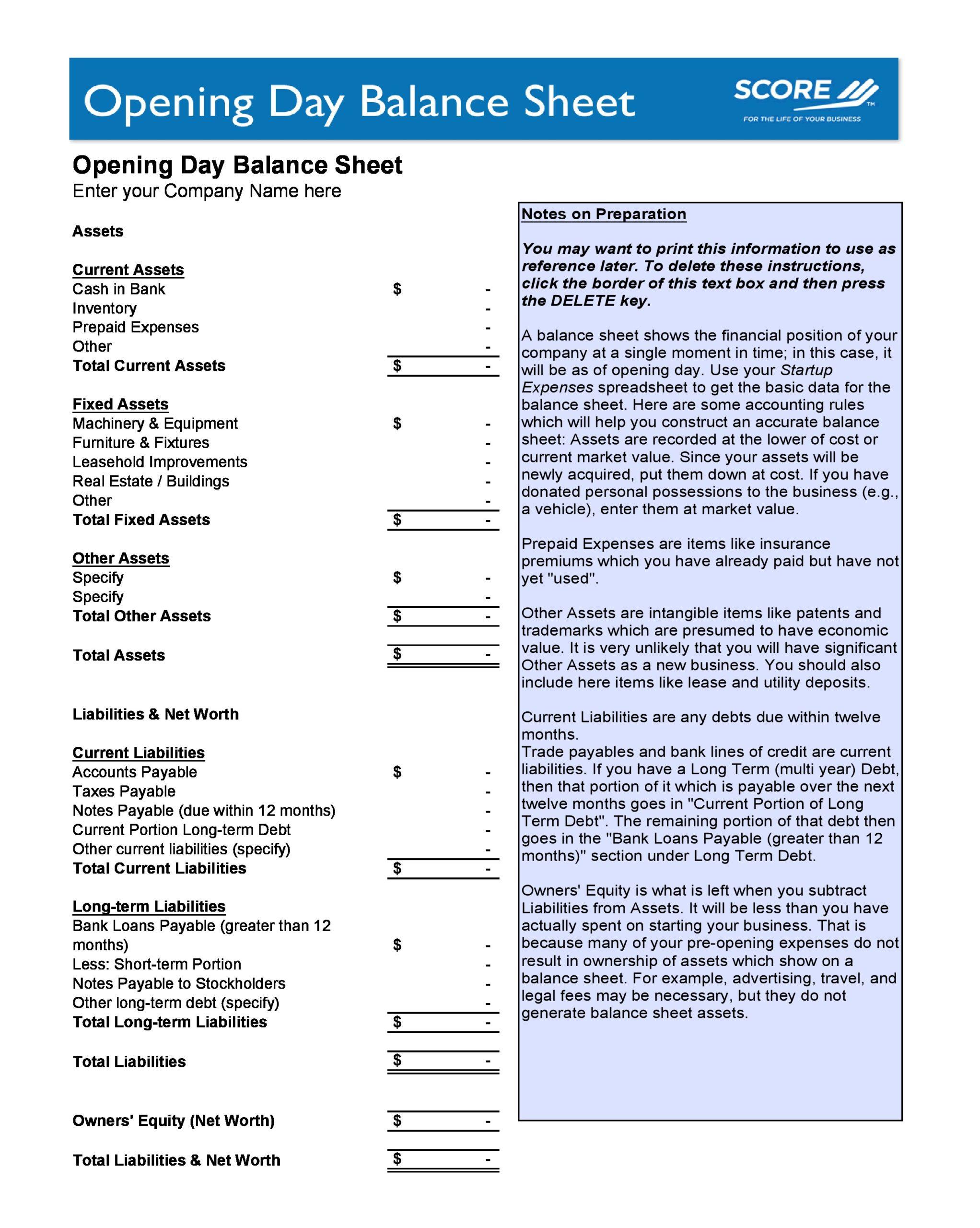balance sheet template 30