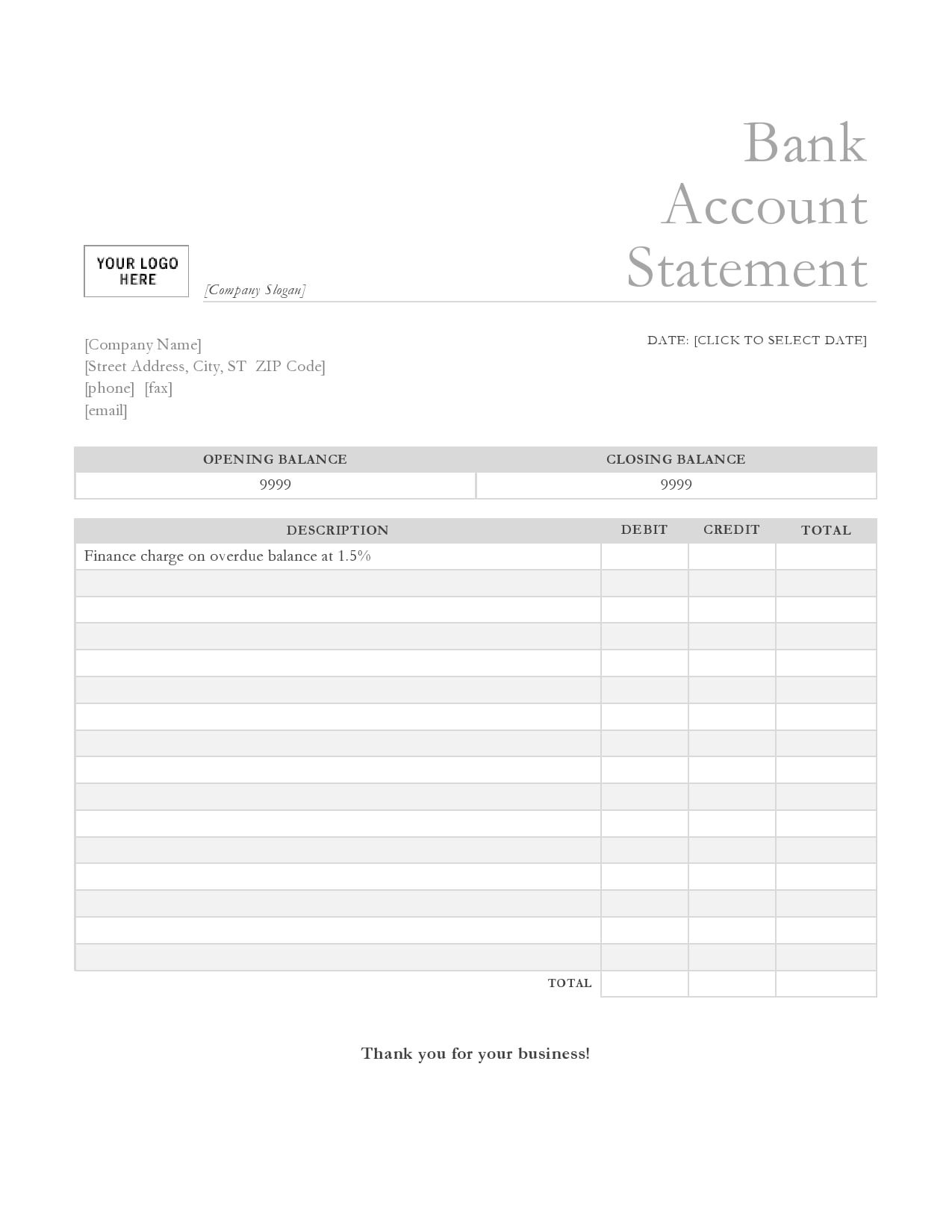 bank statement template 01