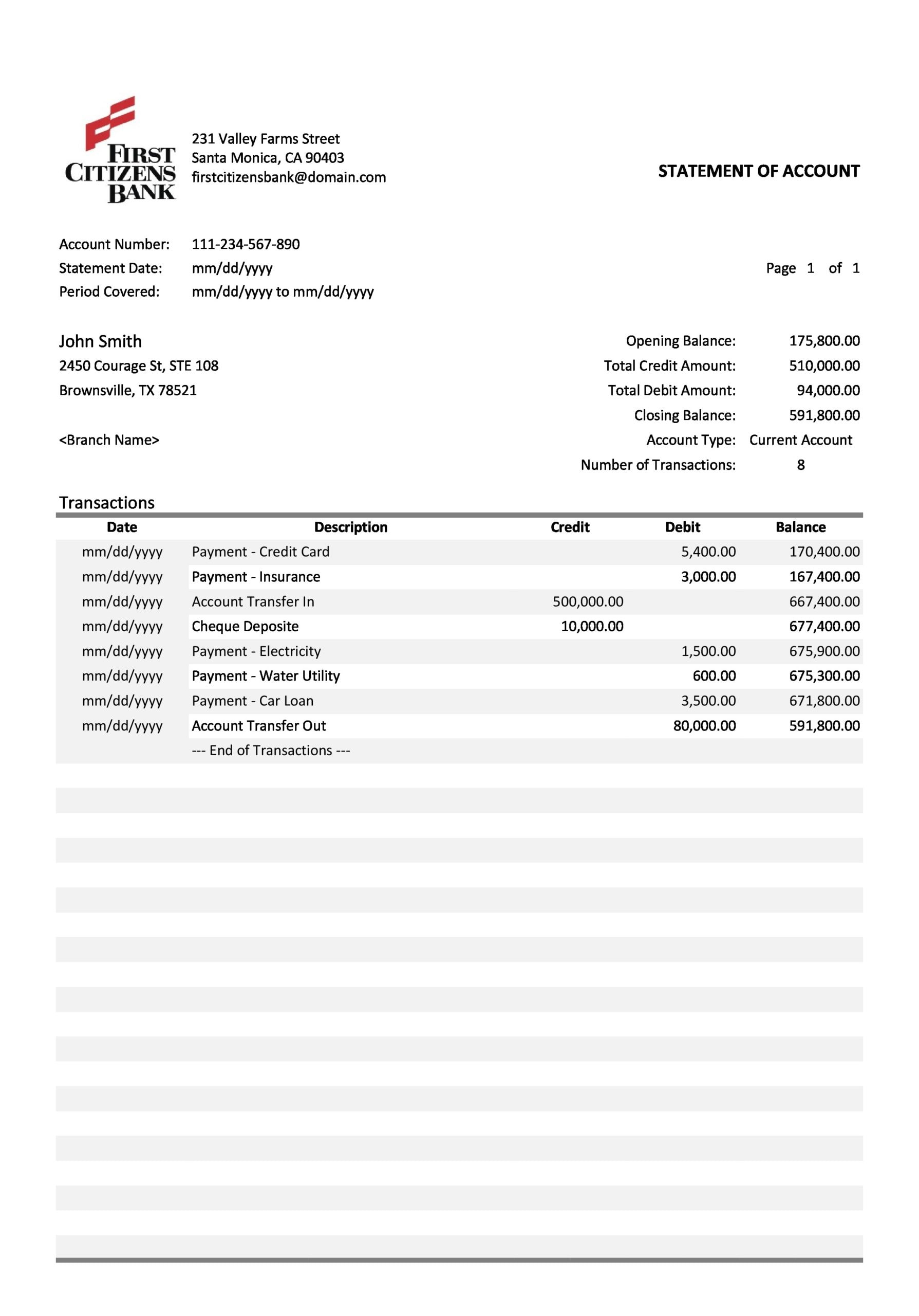 bank statement template 05