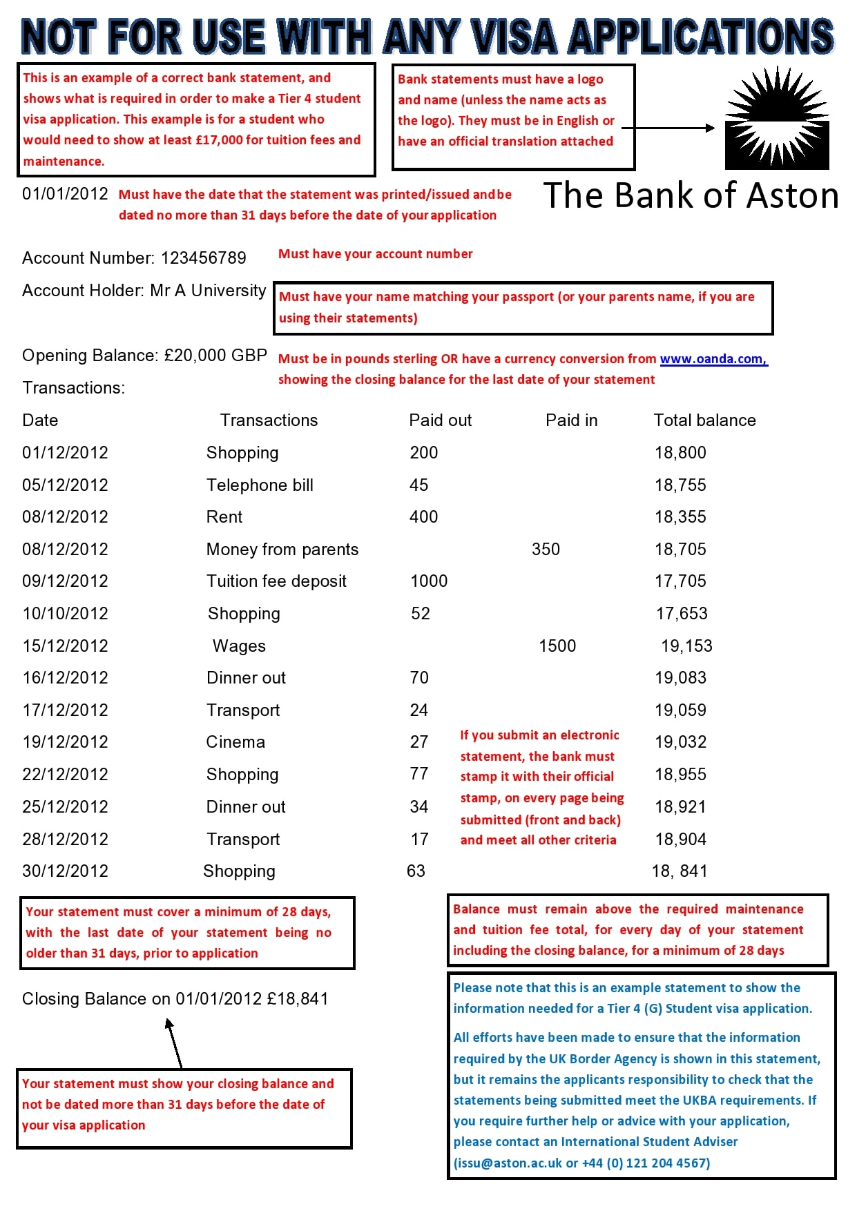 bank statement template 08