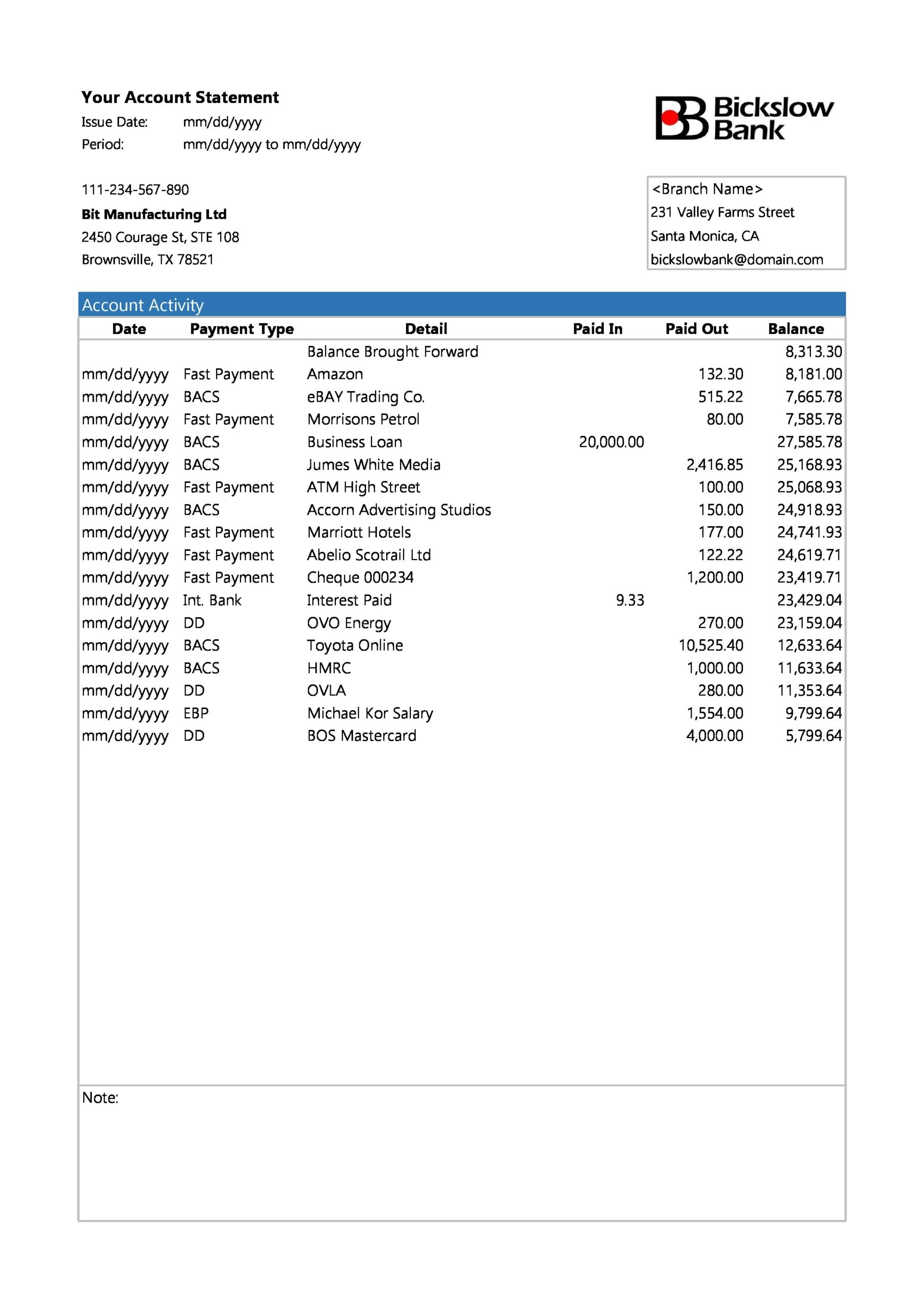 bank statement template 14