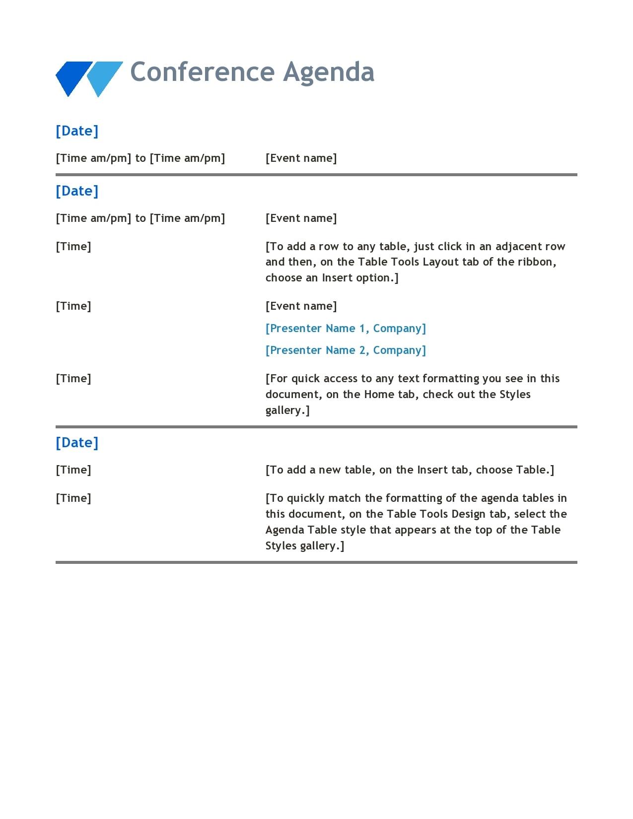 conference agenda template 07