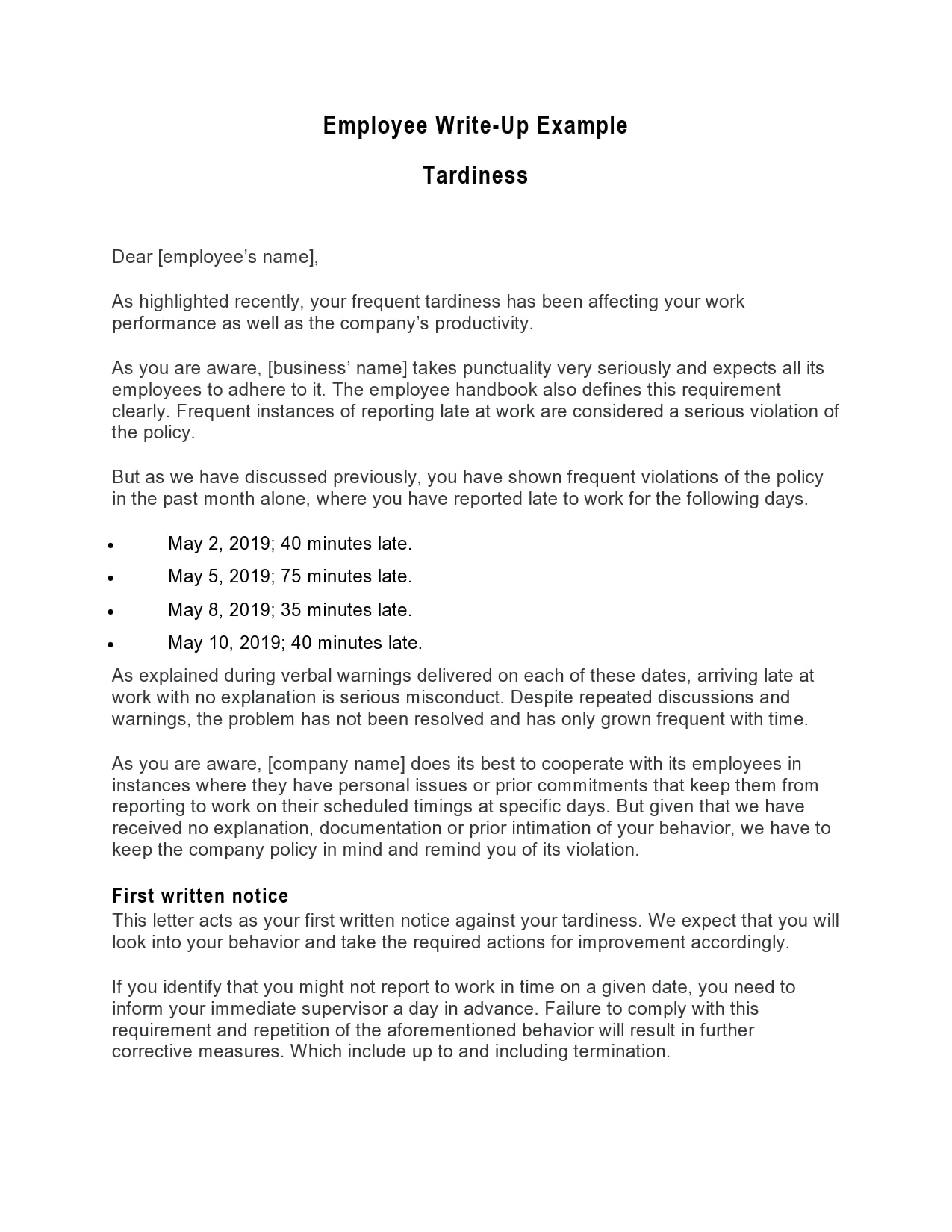 employee write up form 11