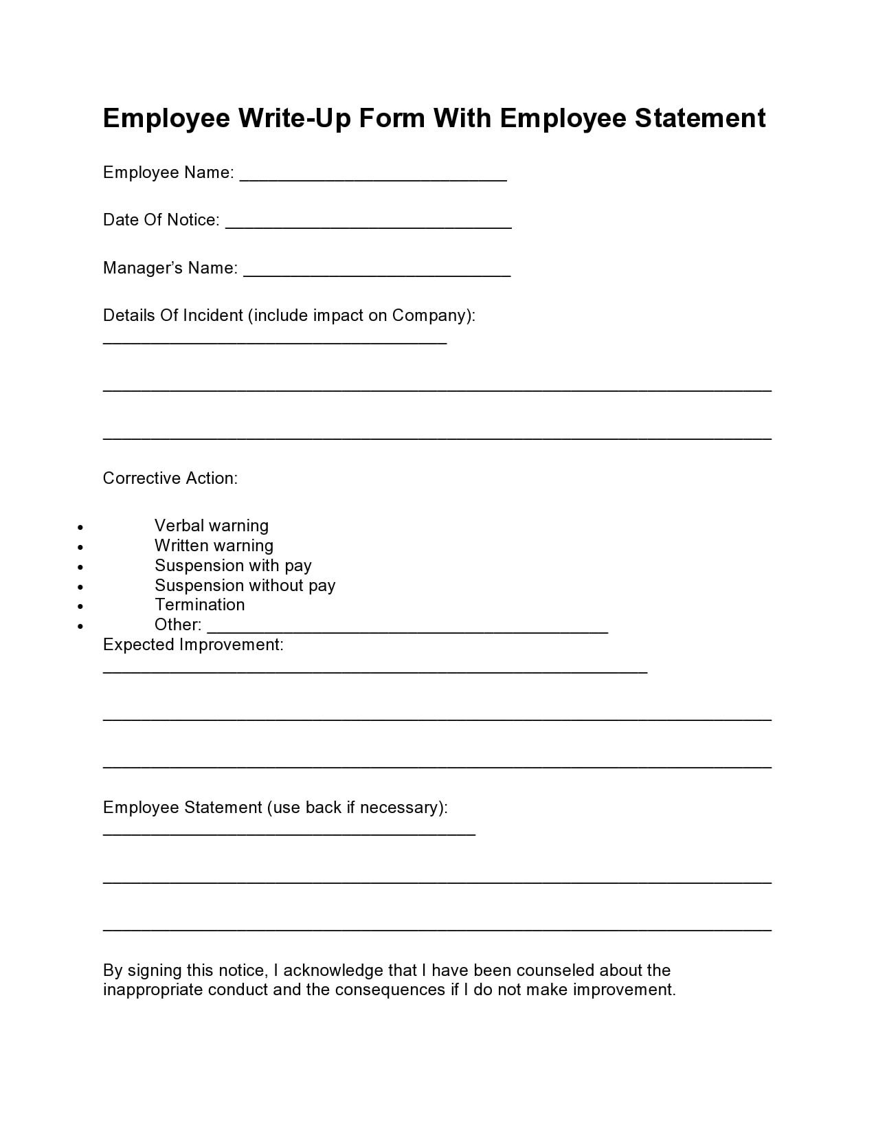 employee write up form 12