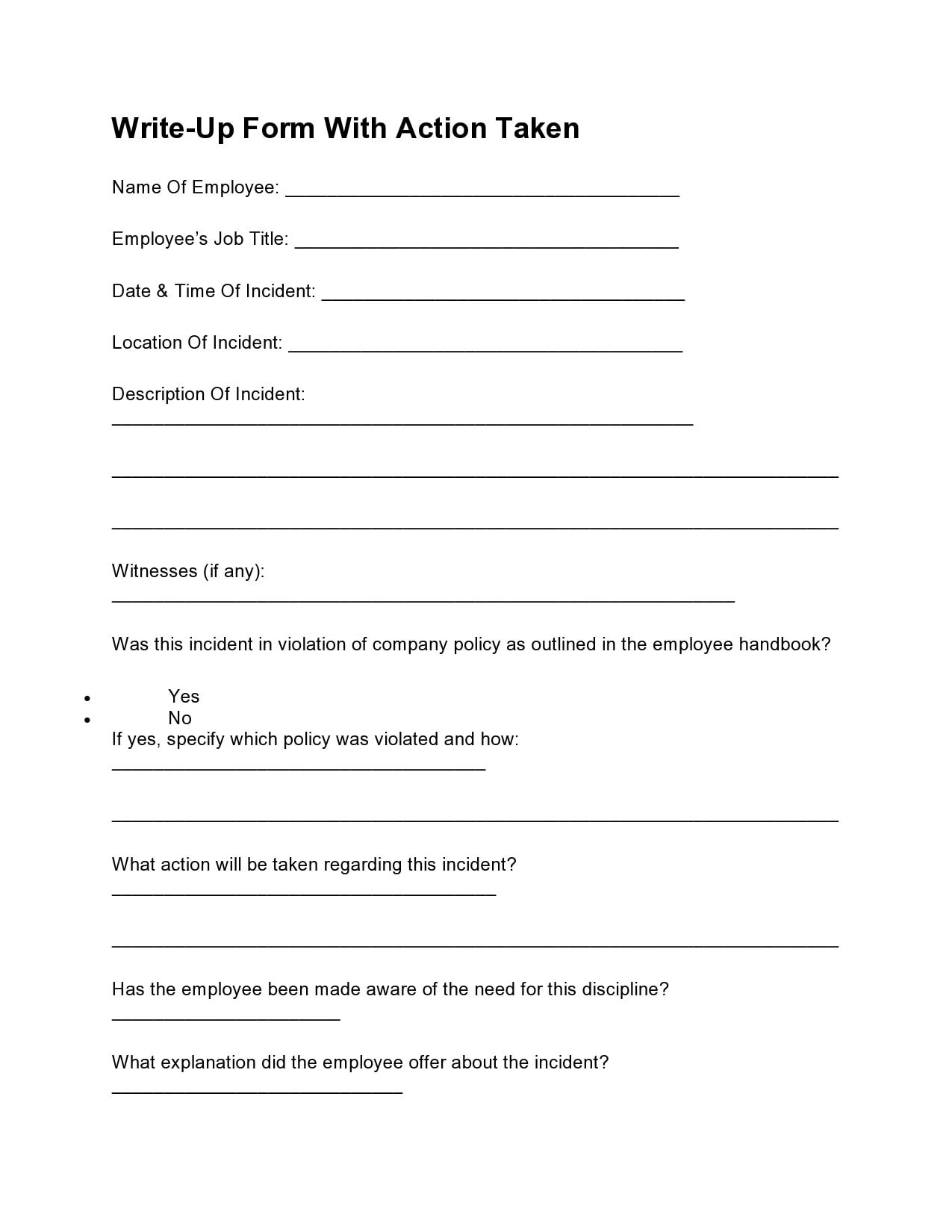 employee write up form 13