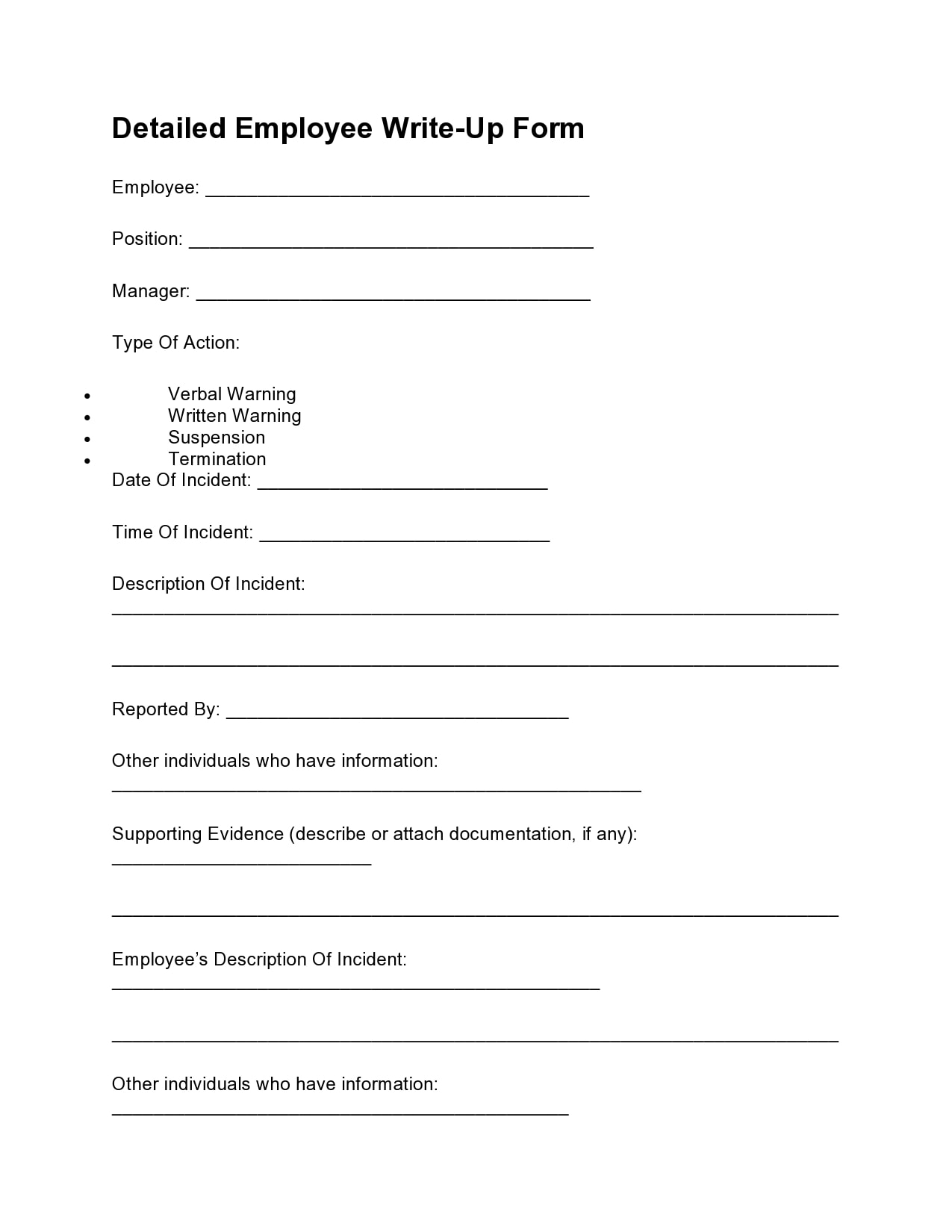 employee write up form 14