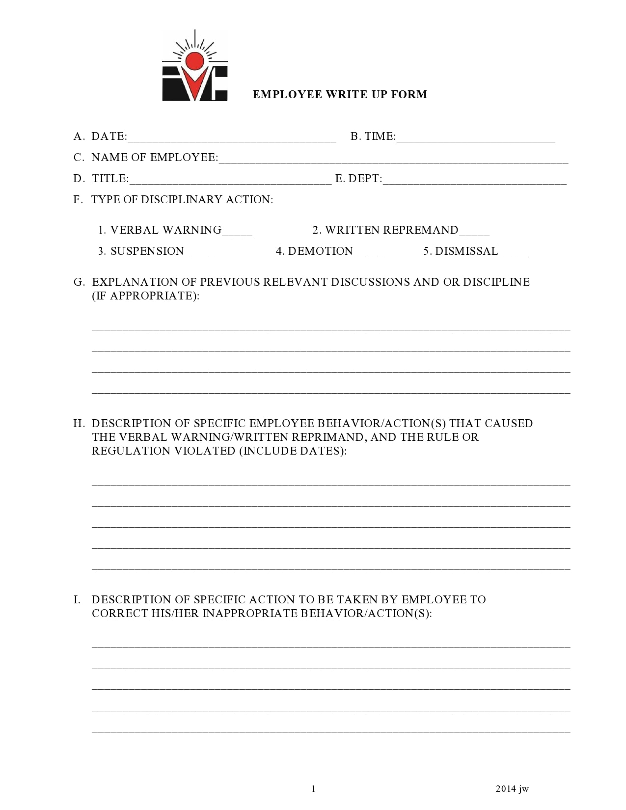 employee write up form 17