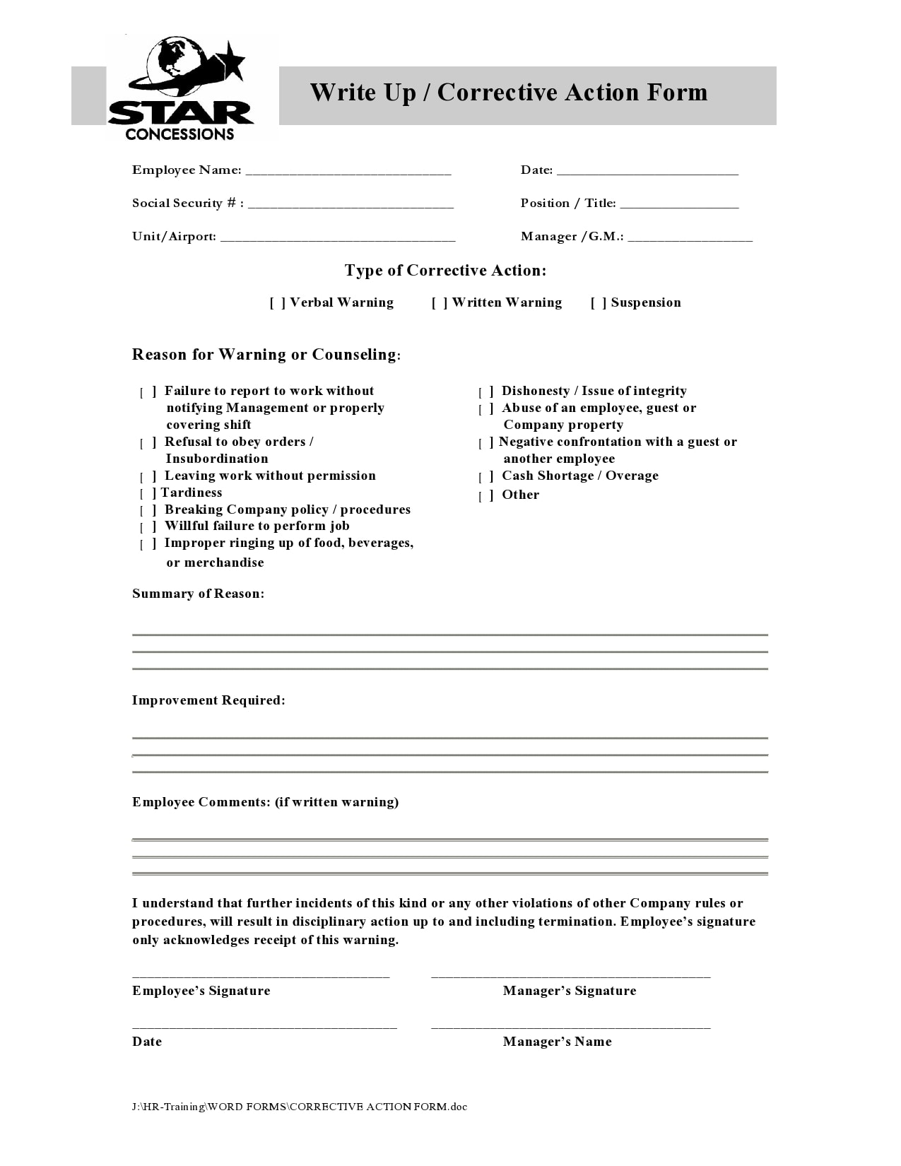 employee write up form 20
