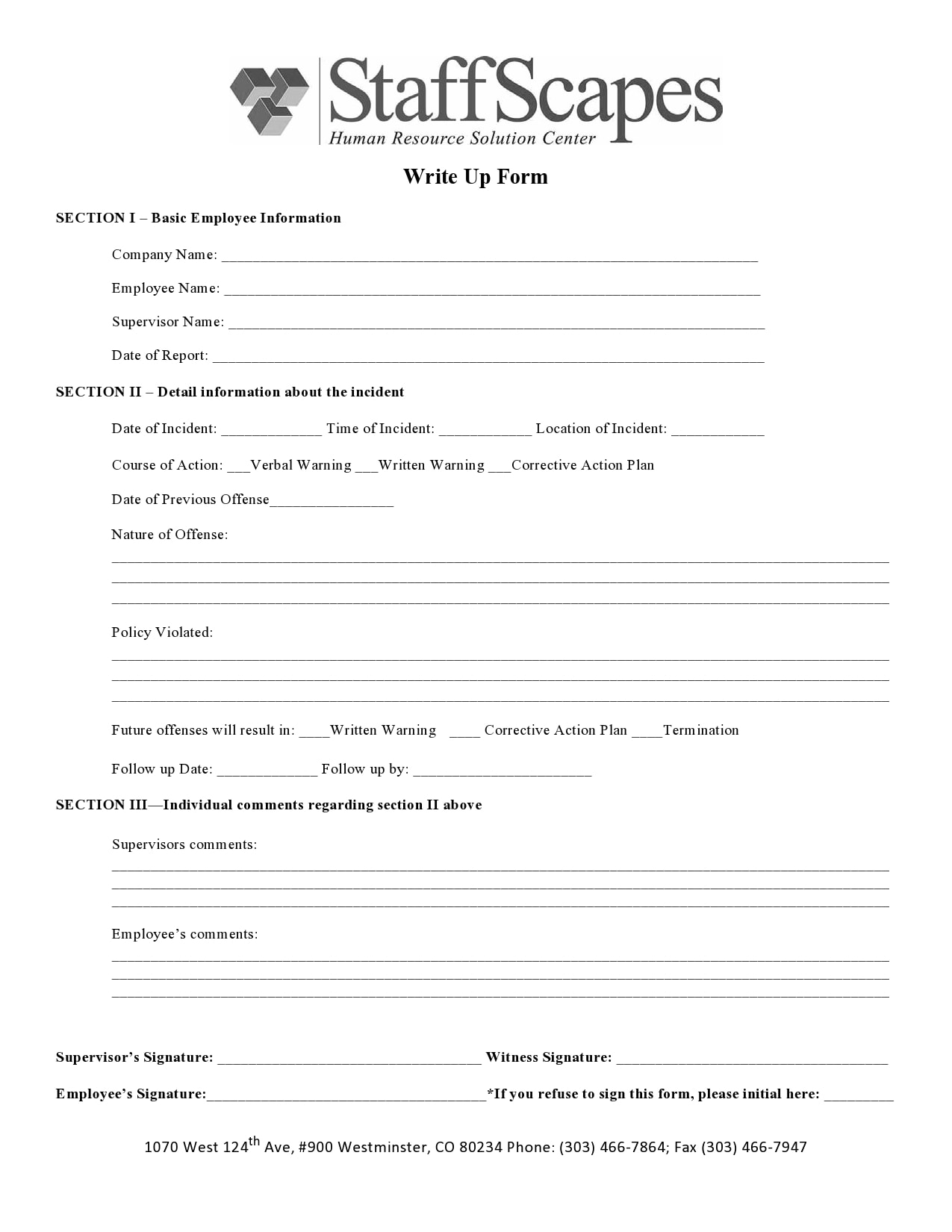 employee write up form 22