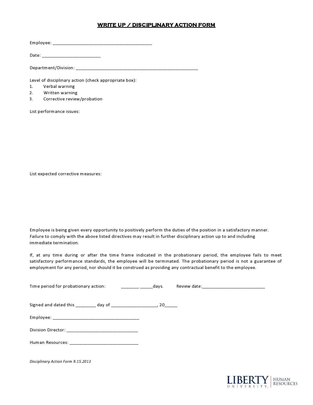 employee write up form 23