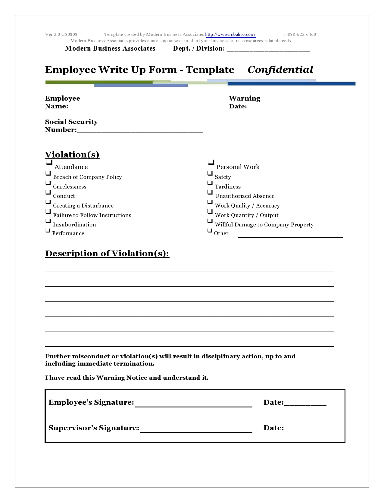 employee write up form 24