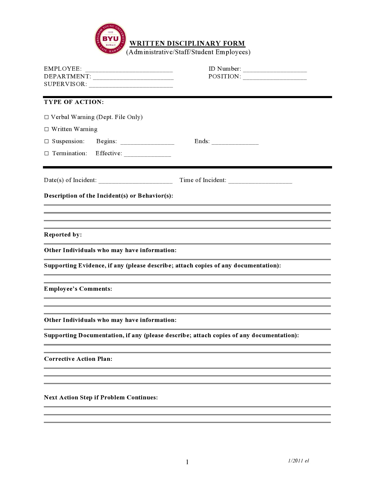 employee write up form 25