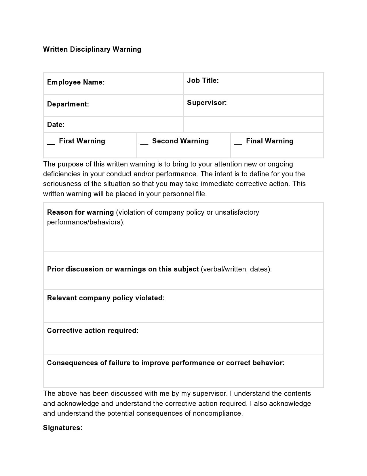 employee write up form 26