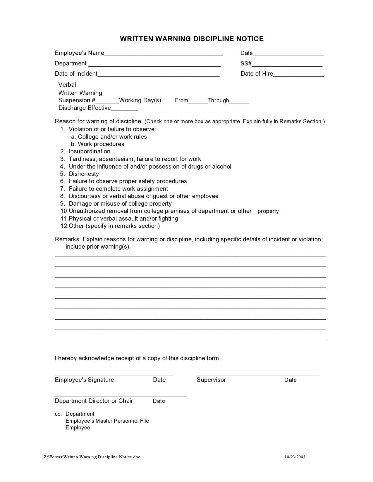 employee write up form 27