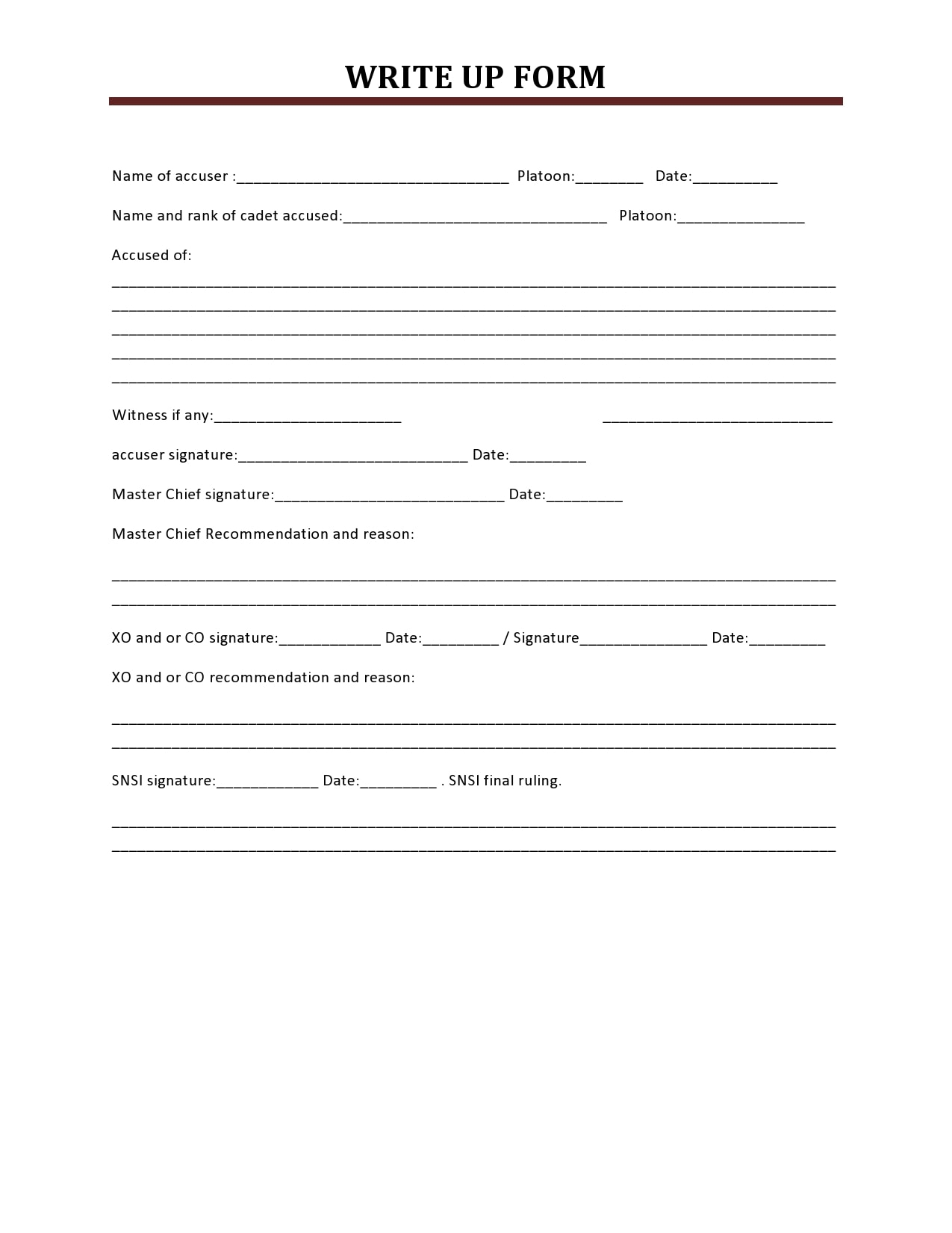 employee write up form 30