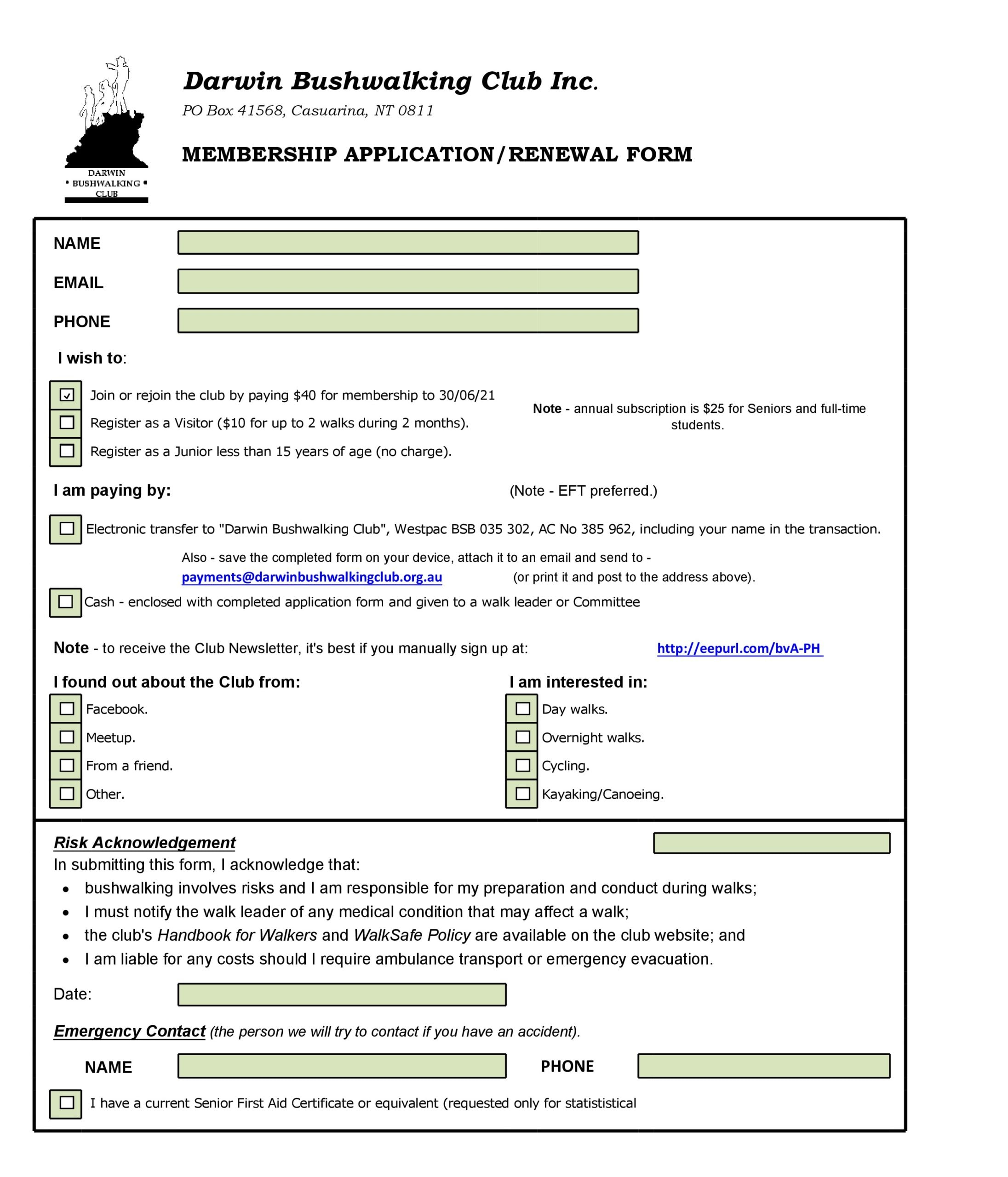 membership application template 12