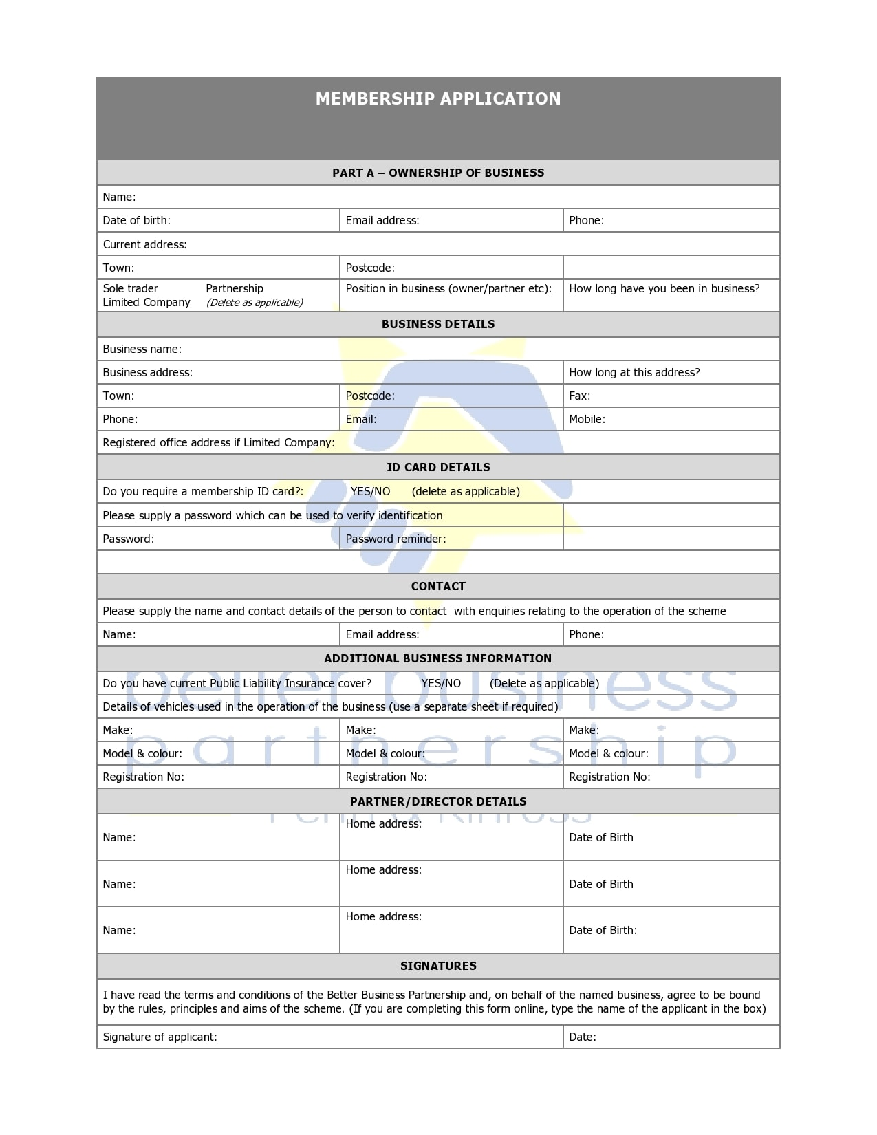 membership application template 22