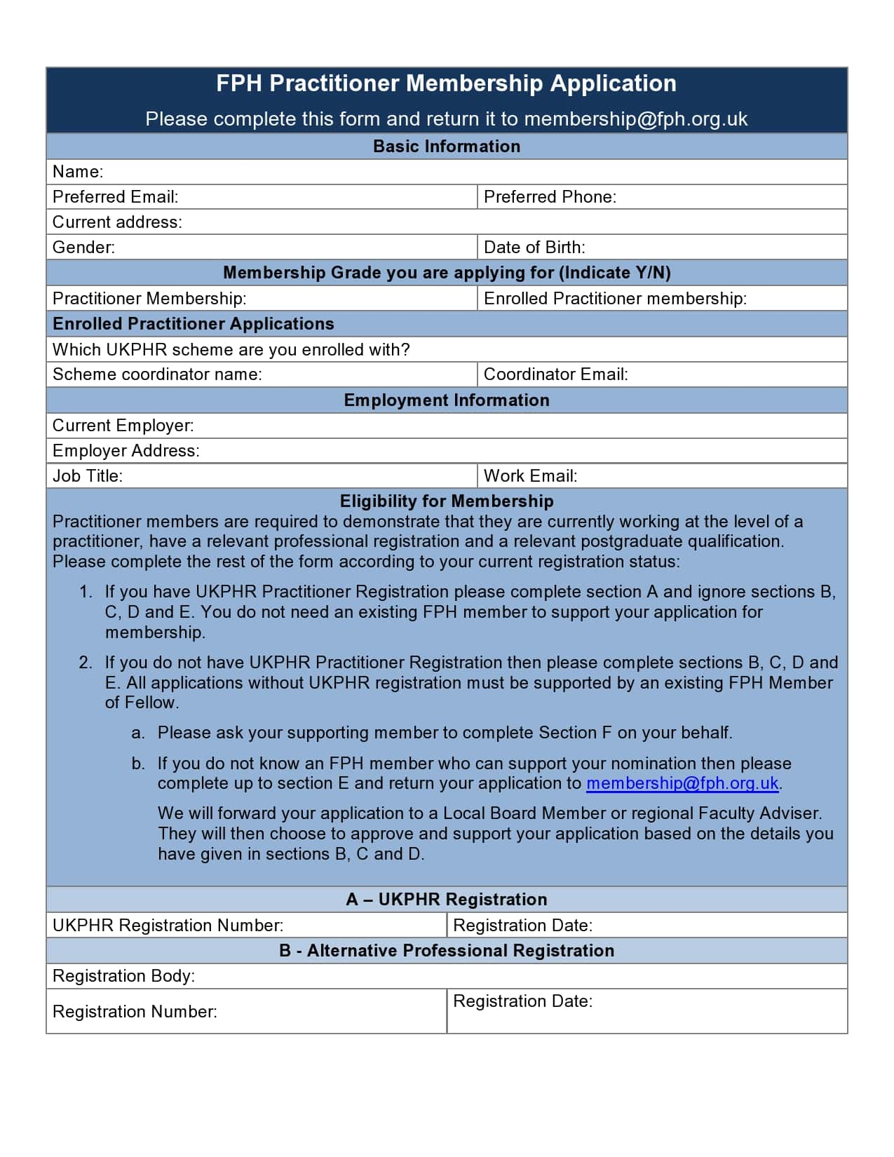 membership application template 26