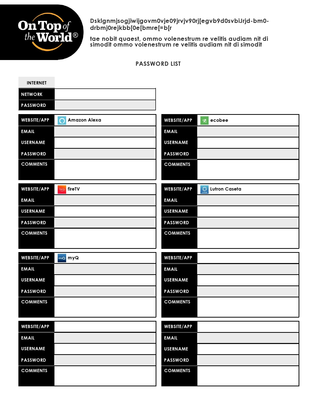 password list template 25