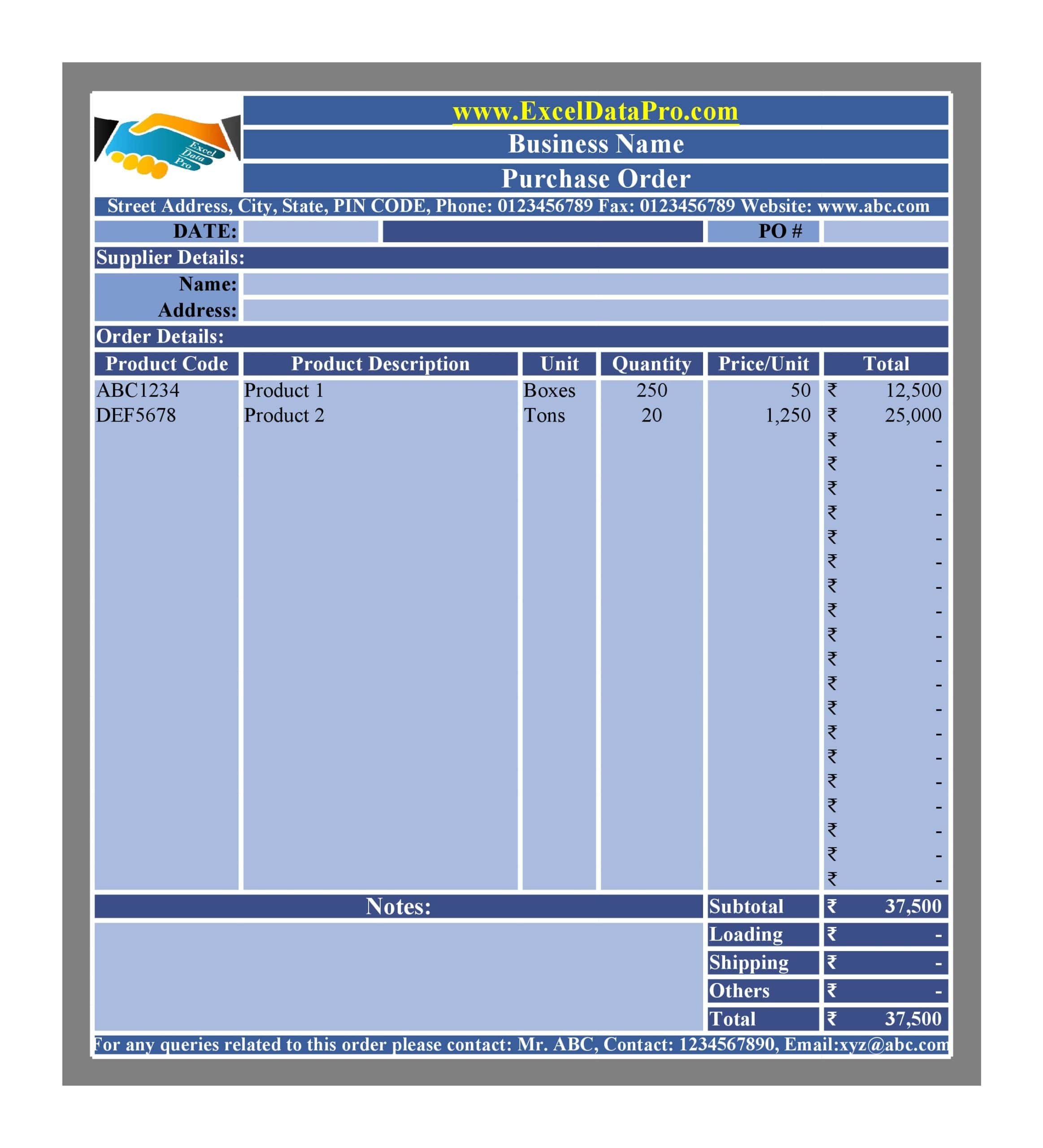 purchase order template 13