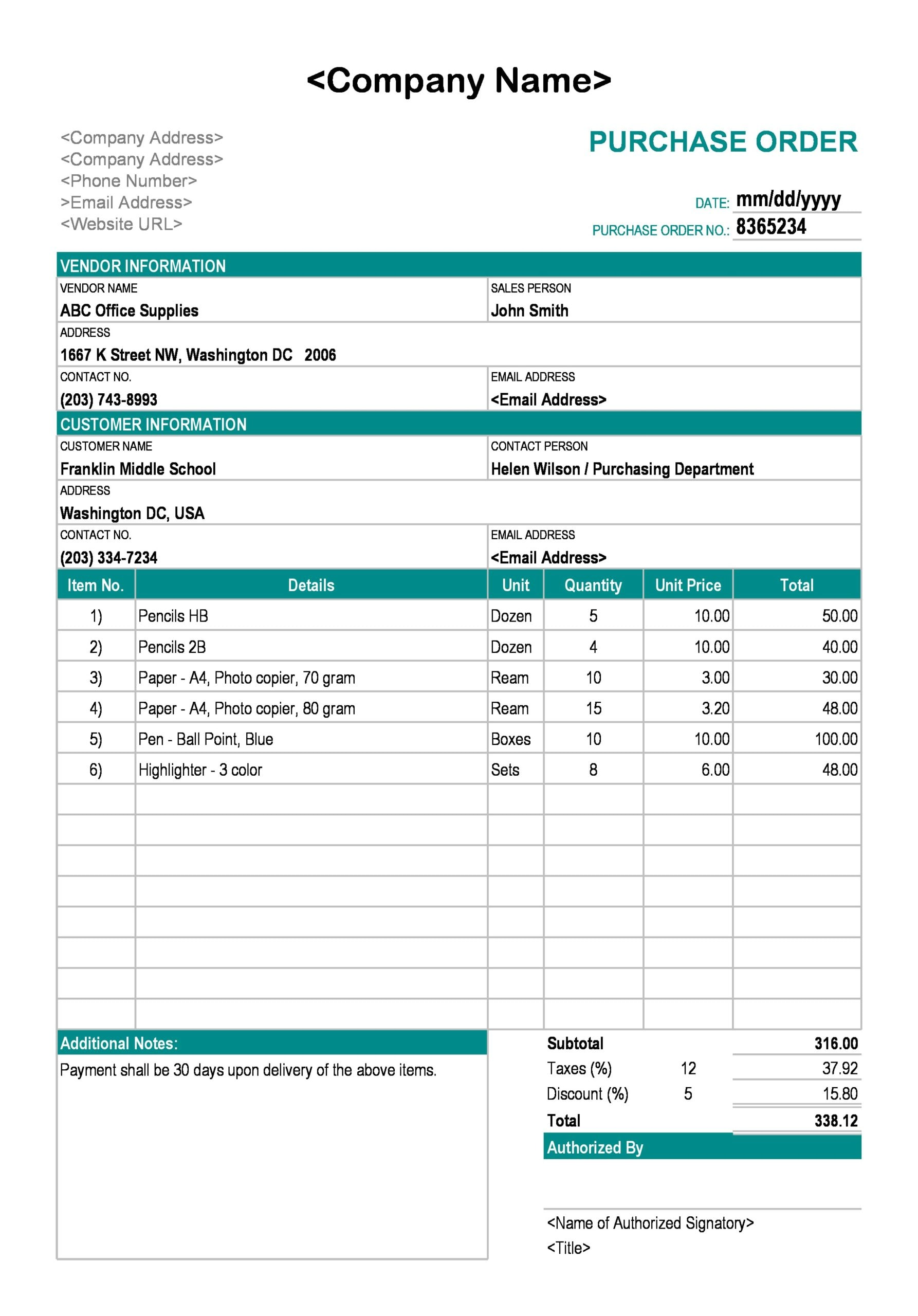 purchase order template 15