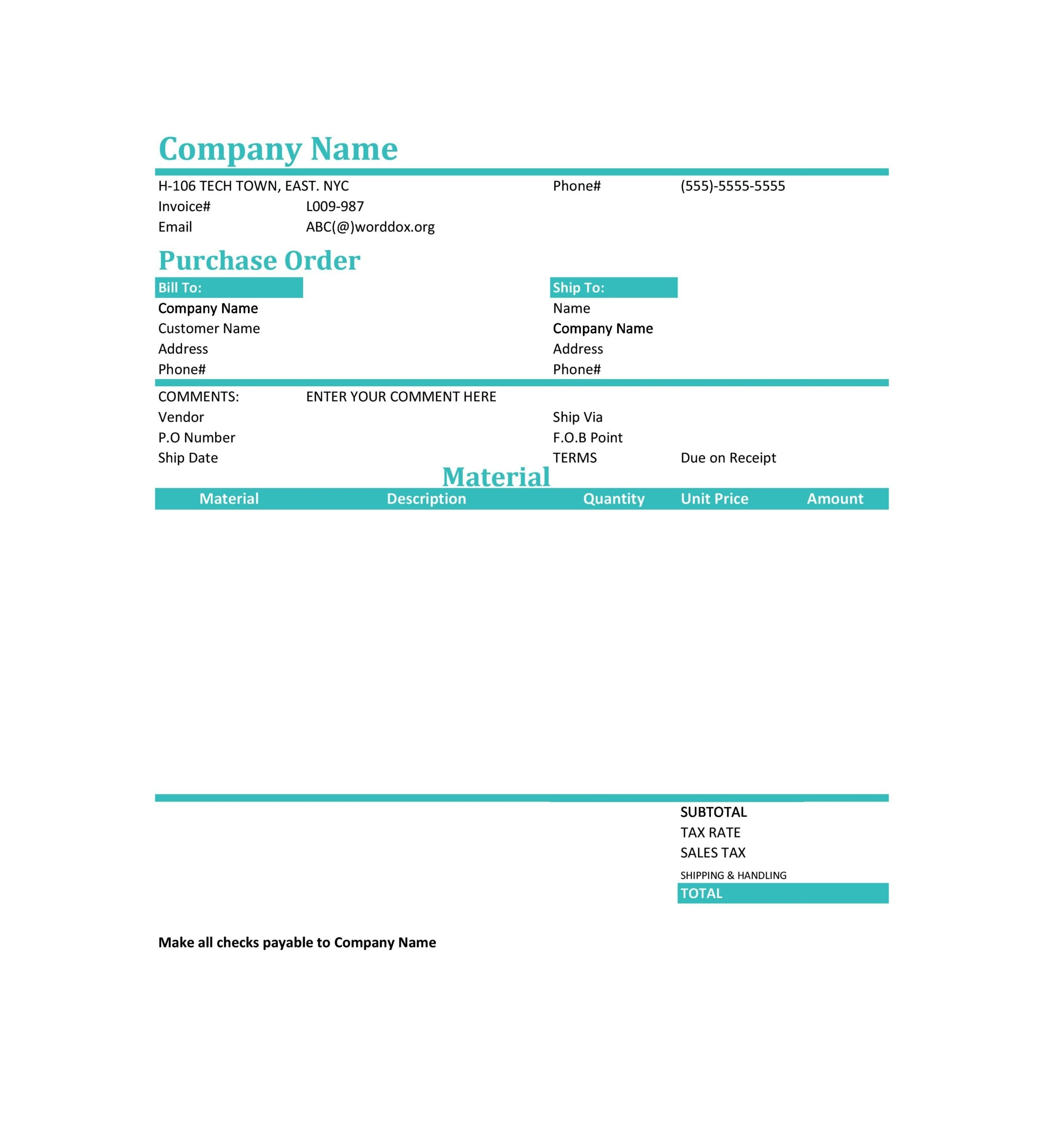 purchase order template 17