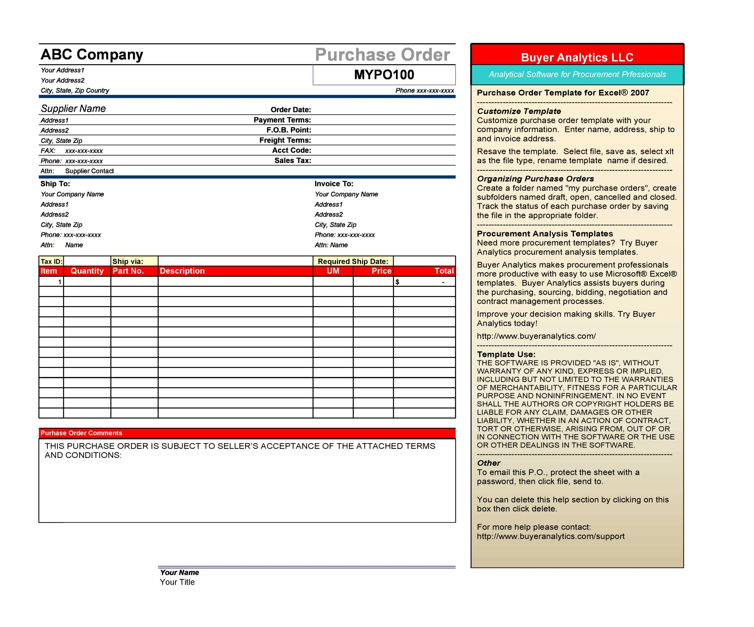 purchase order template 18