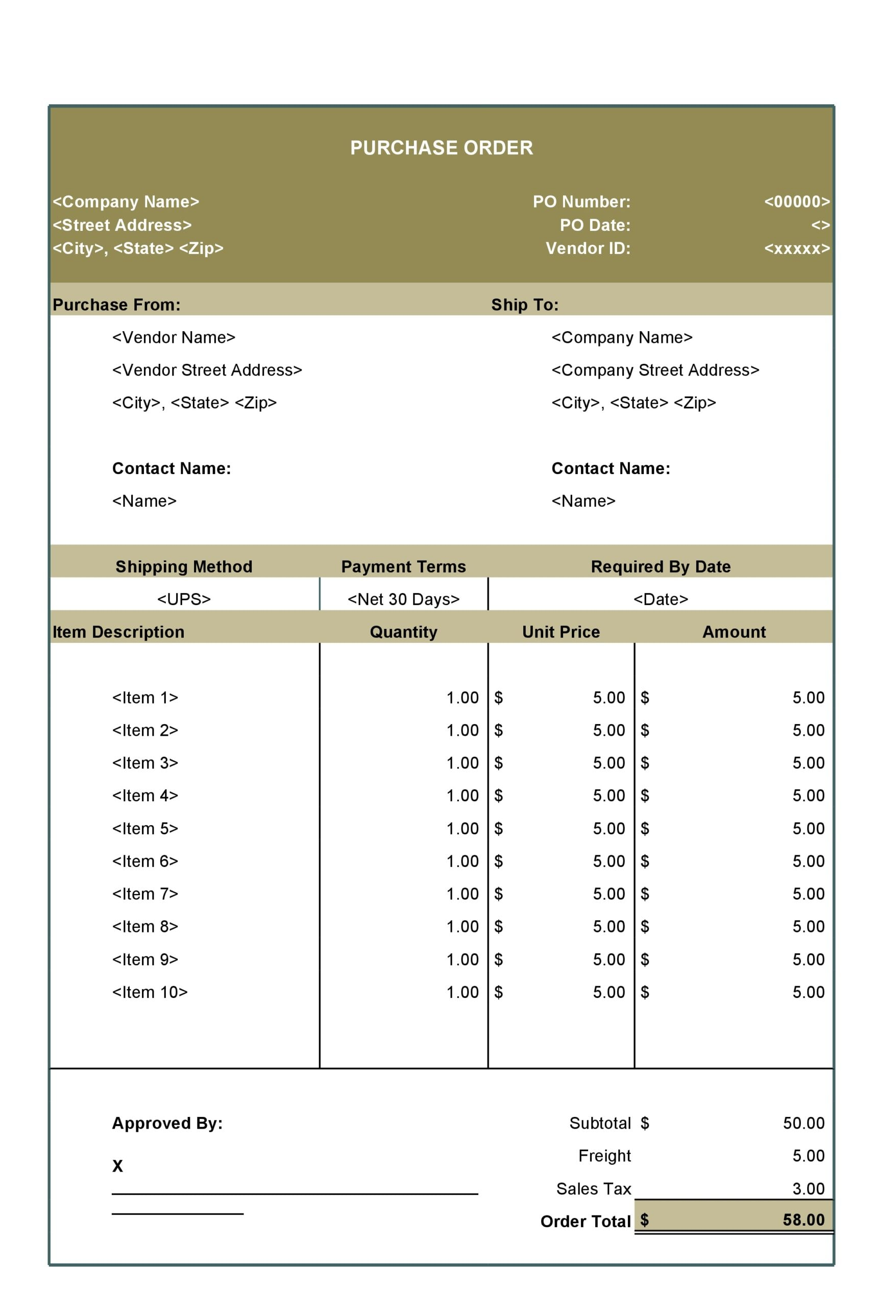 purchase order template 29