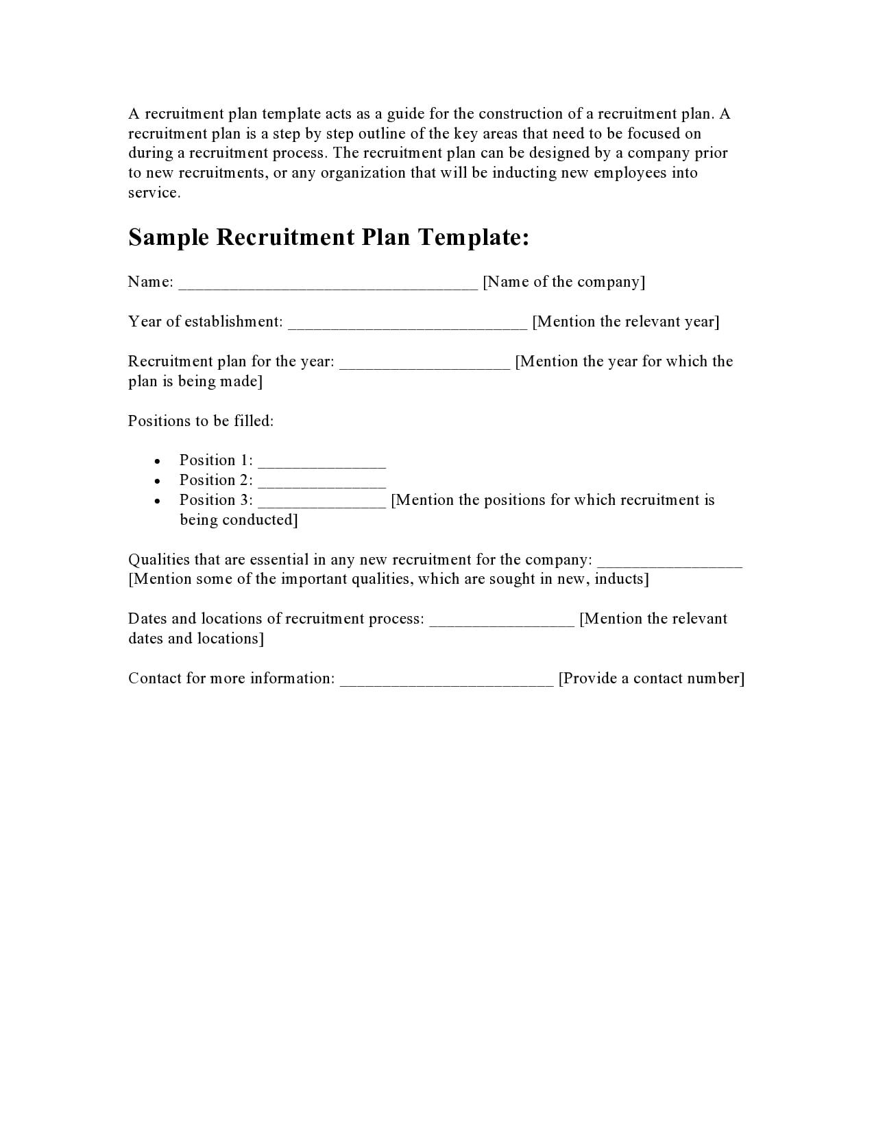 recruitment plan template 14