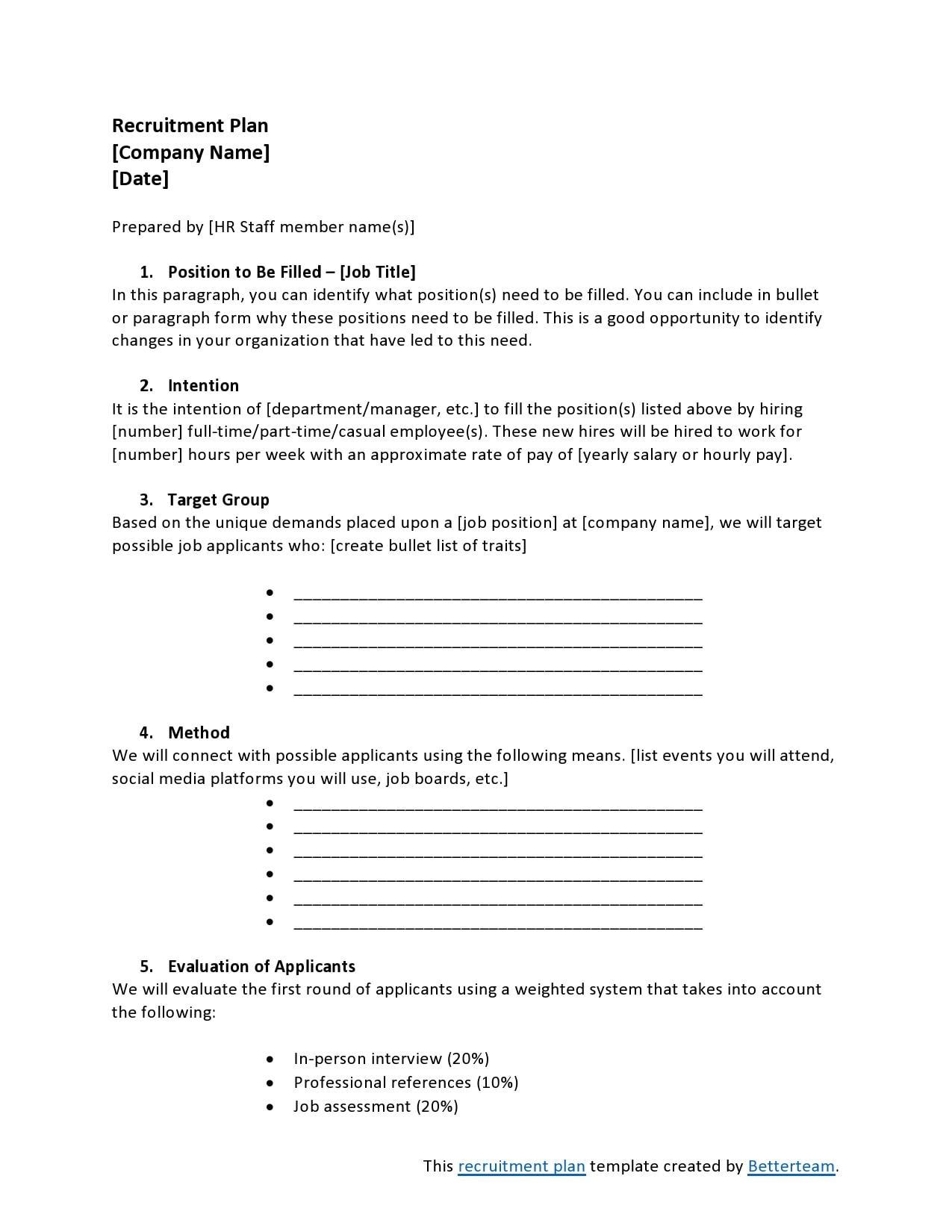 recruitment plan template 19