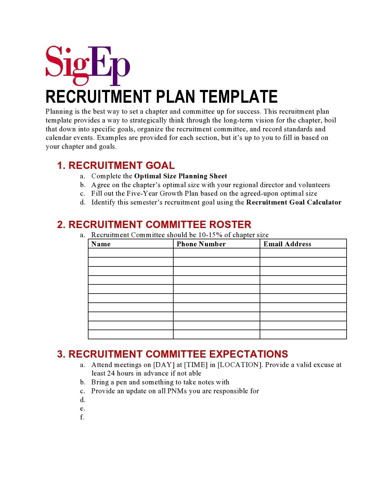 recruitment plan template 26