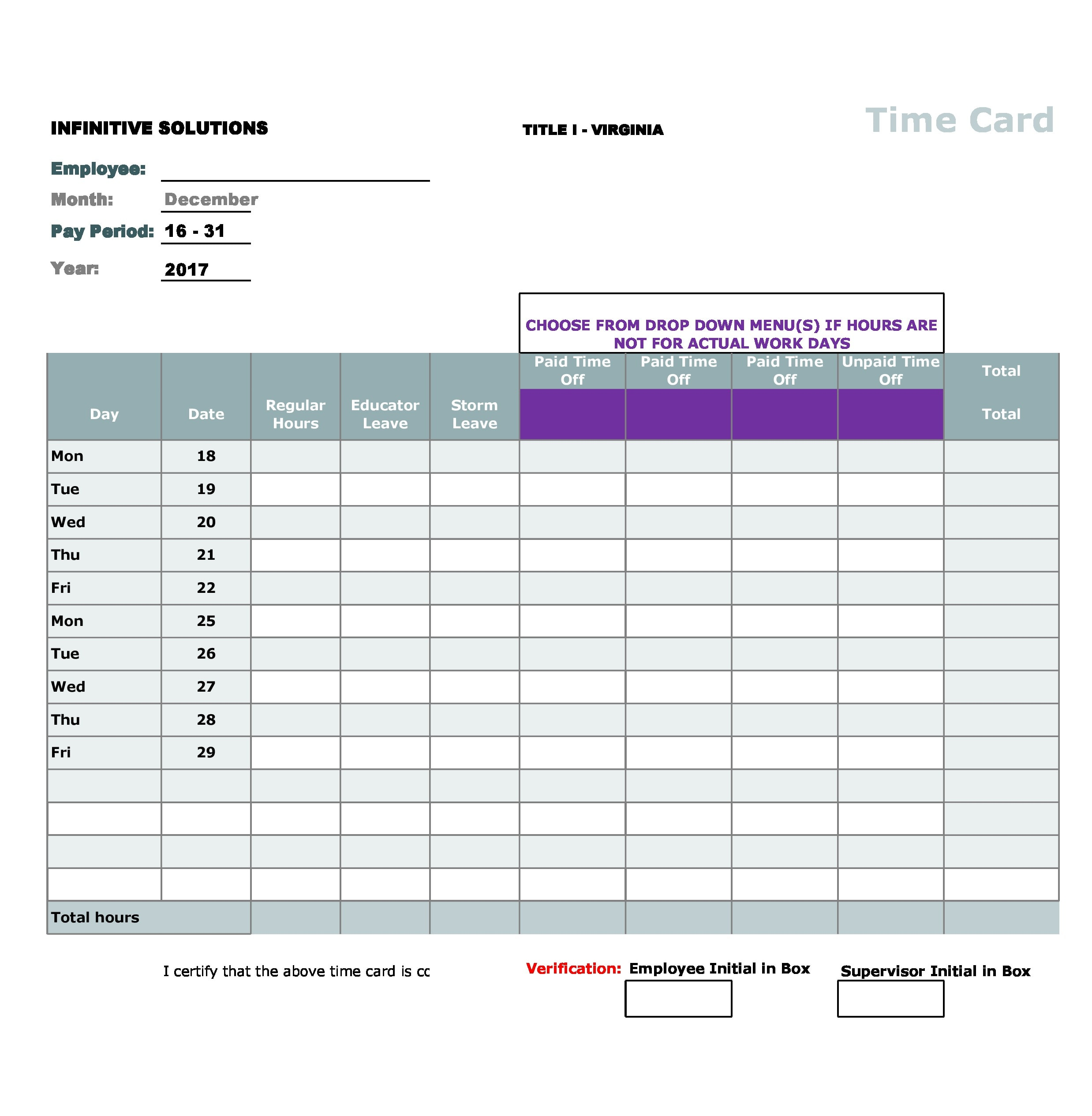 time card template 14