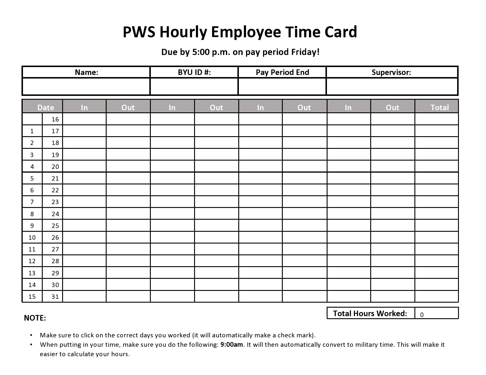 time card template 25