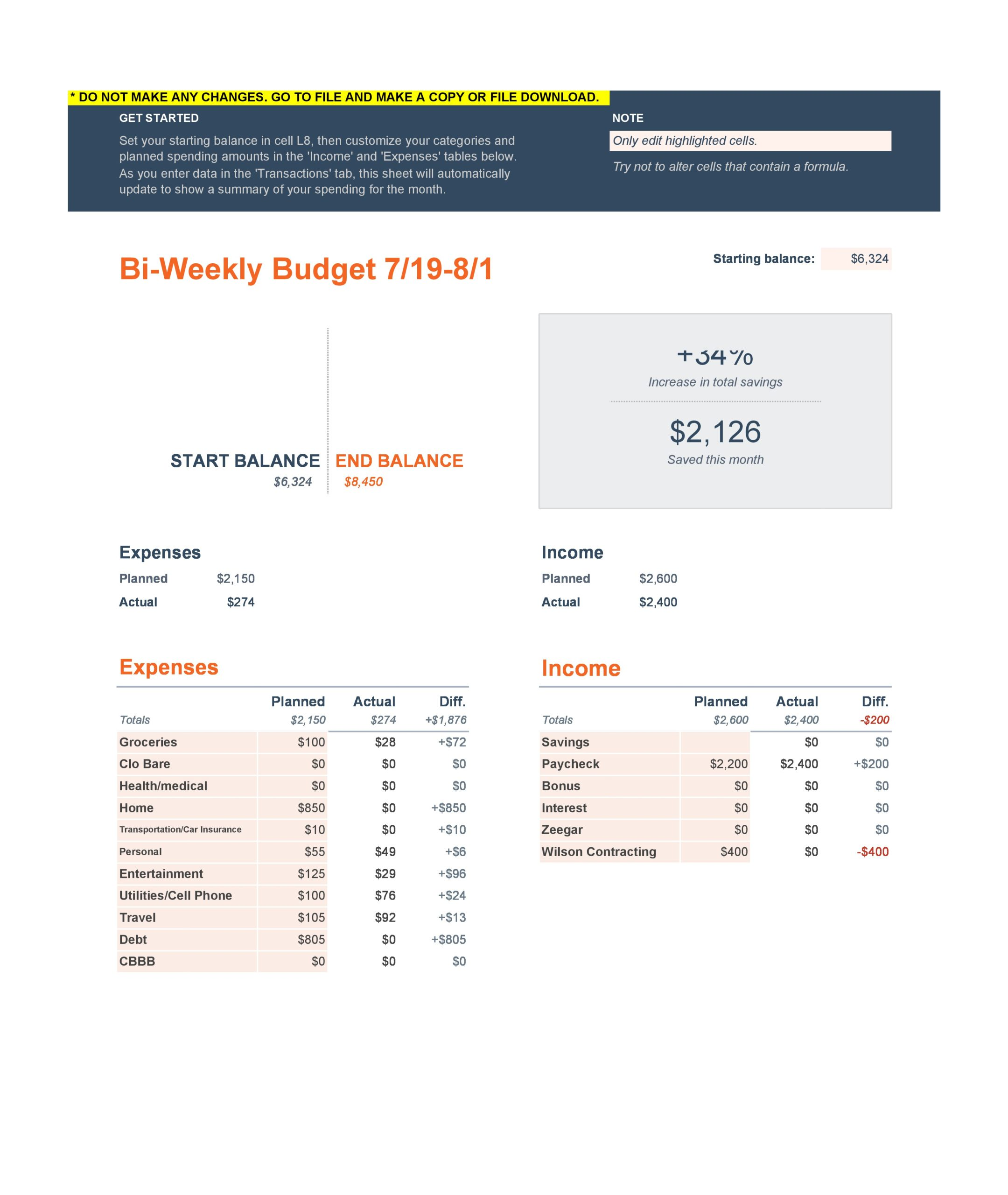 weekly budget template 17