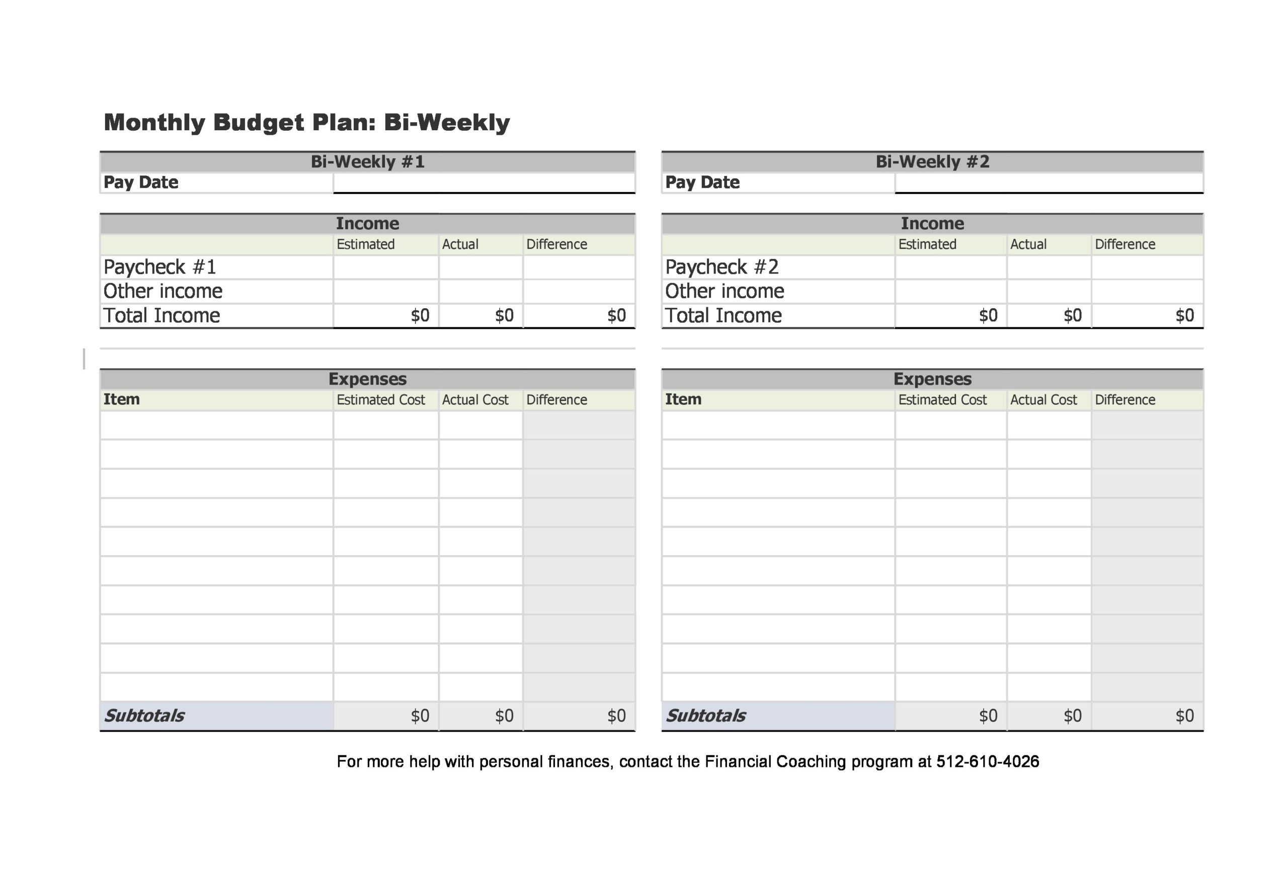 weekly budget template 18