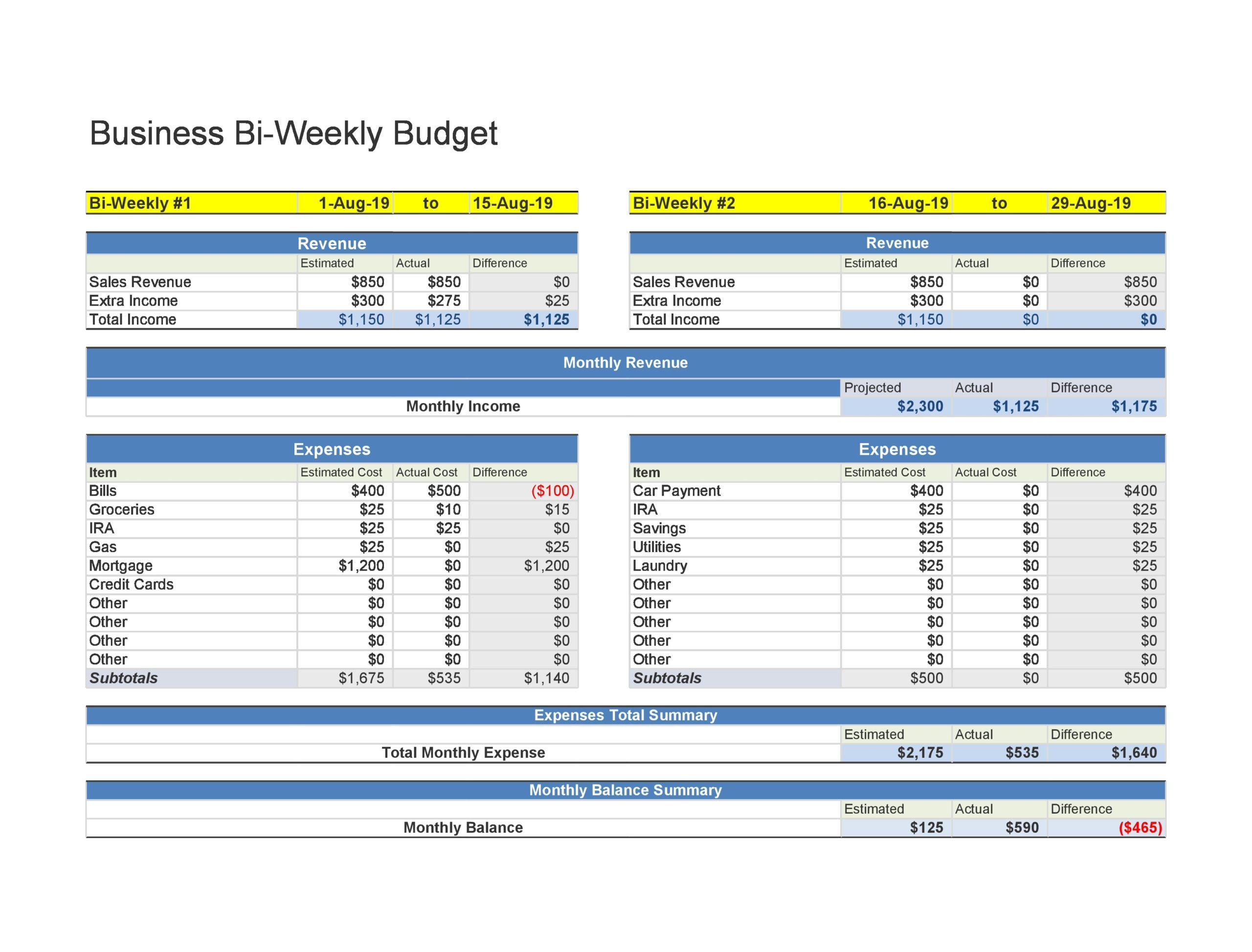 weekly budget template 24