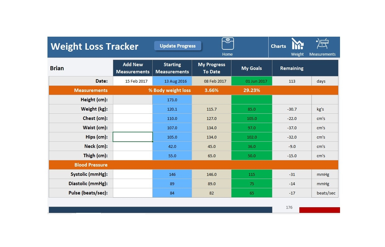weight loss spreadsheet 12