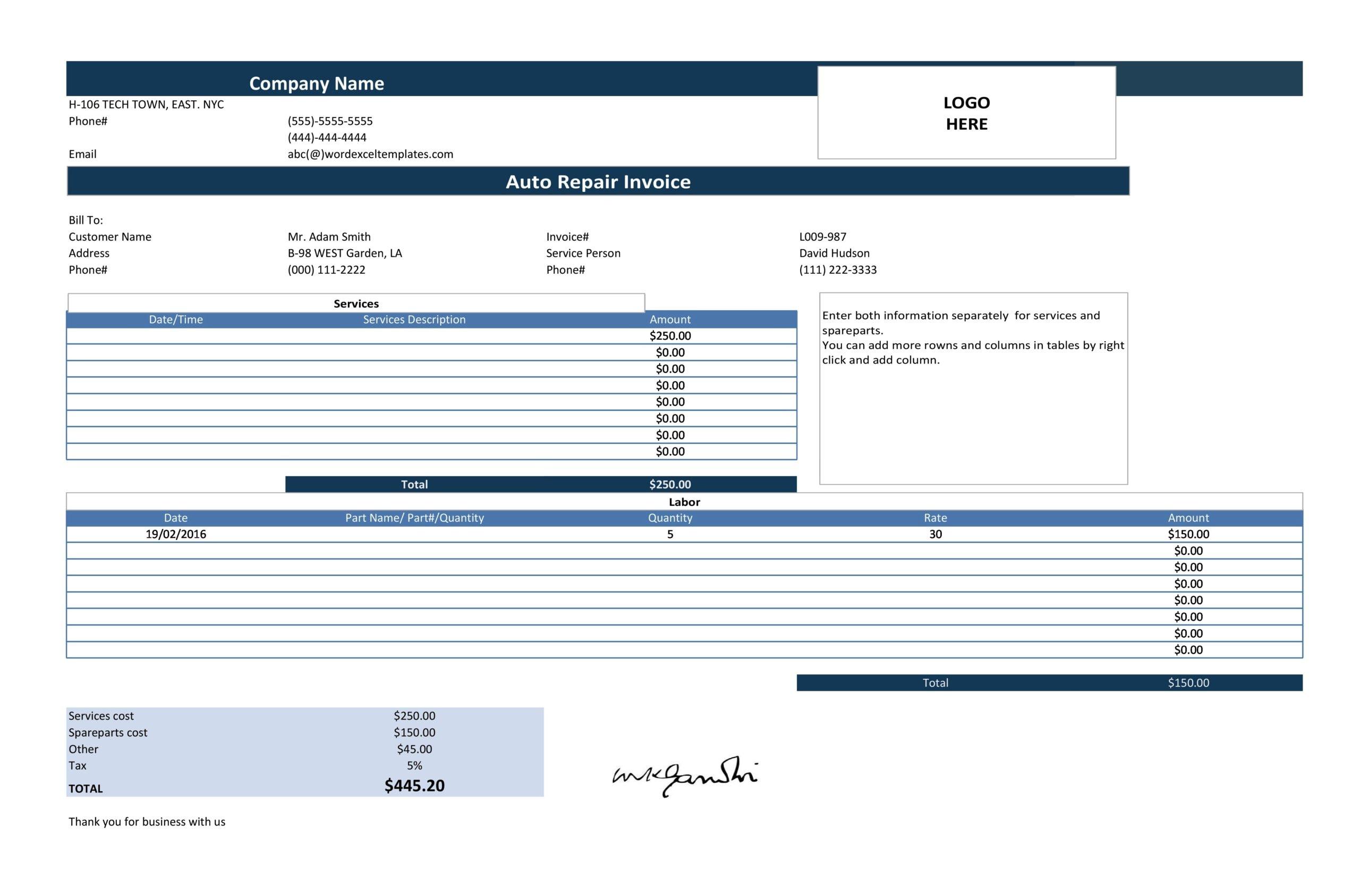 auto repair invoice 05