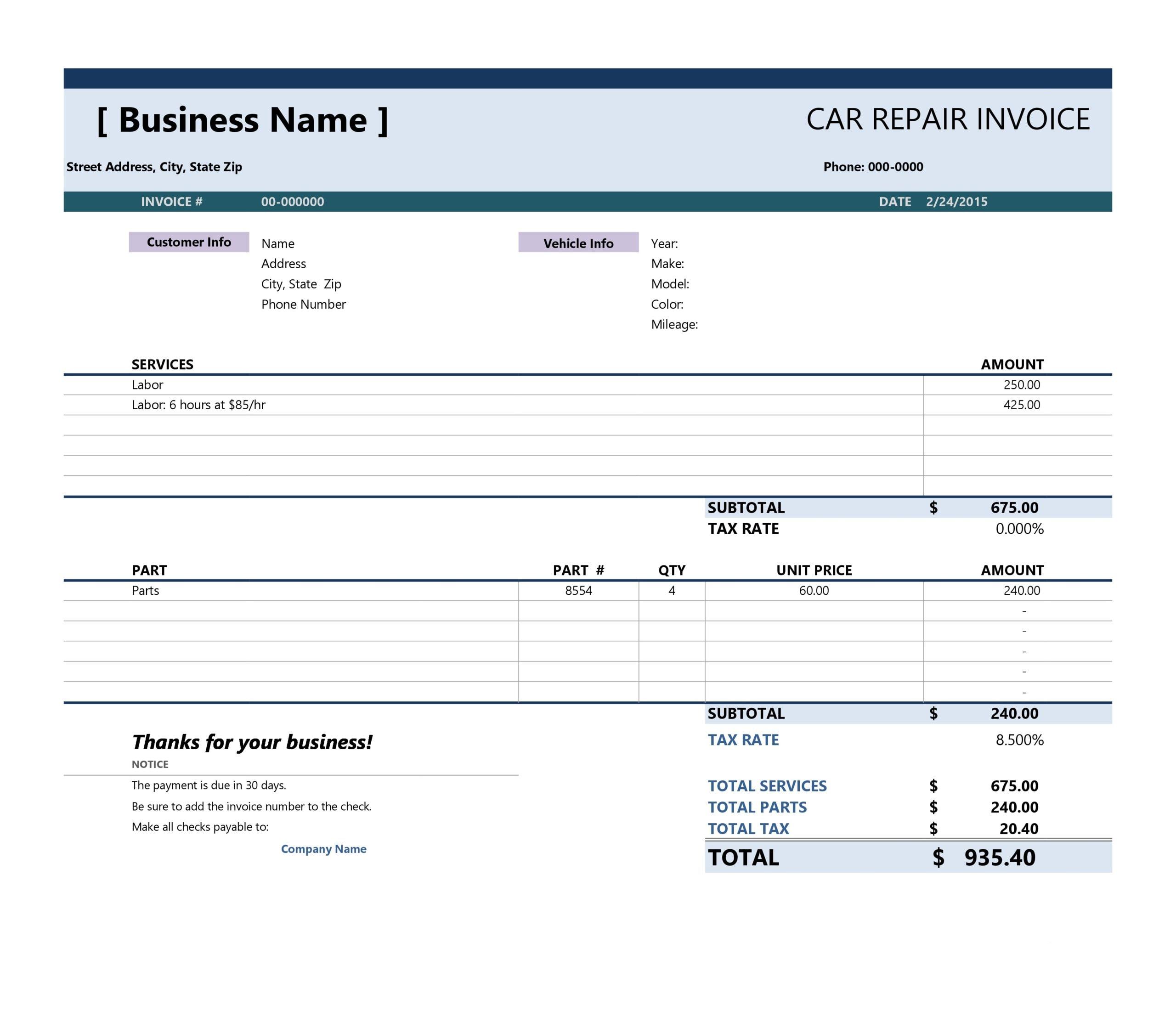 auto repair invoice 06