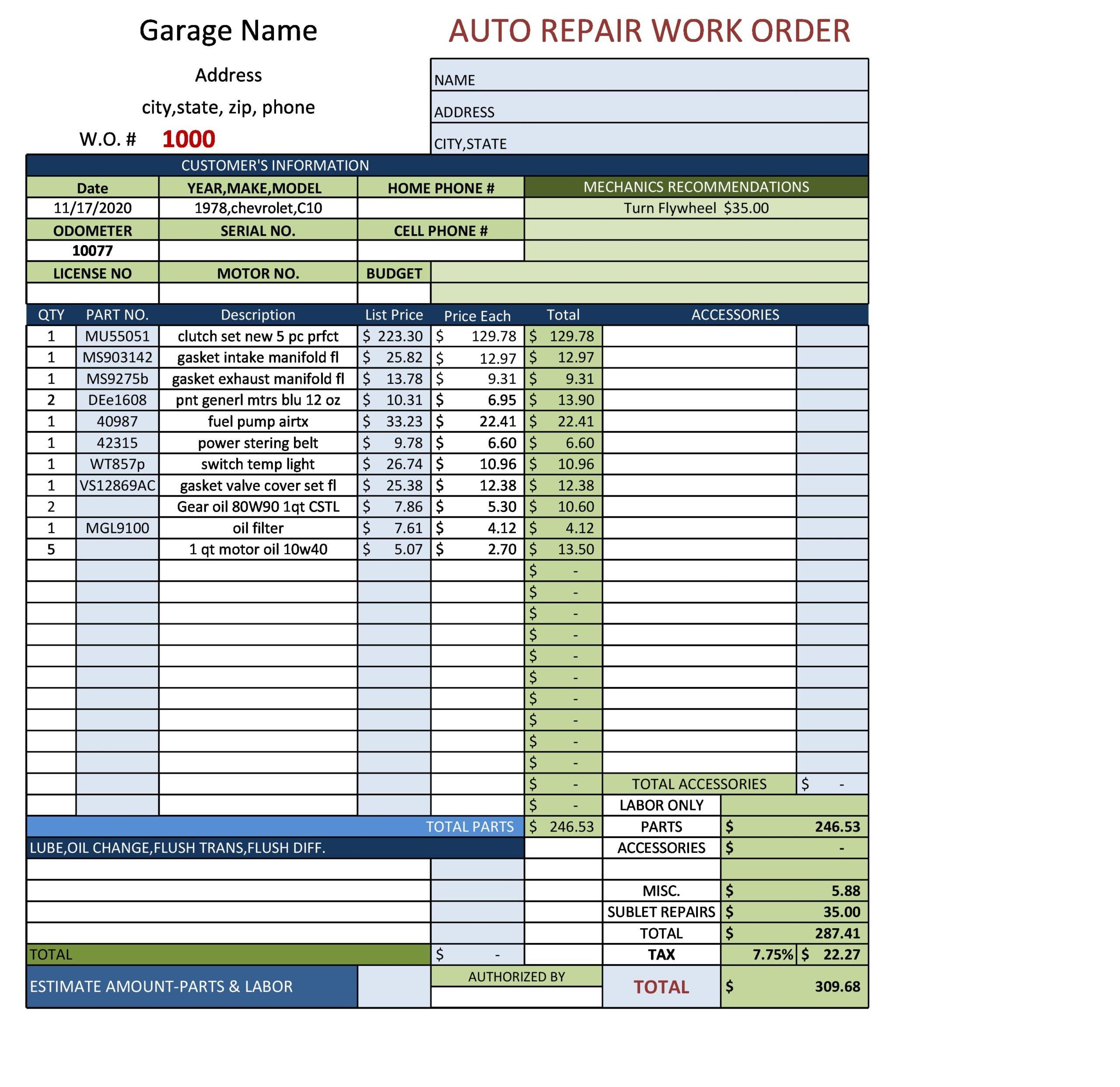 auto repair invoice 07