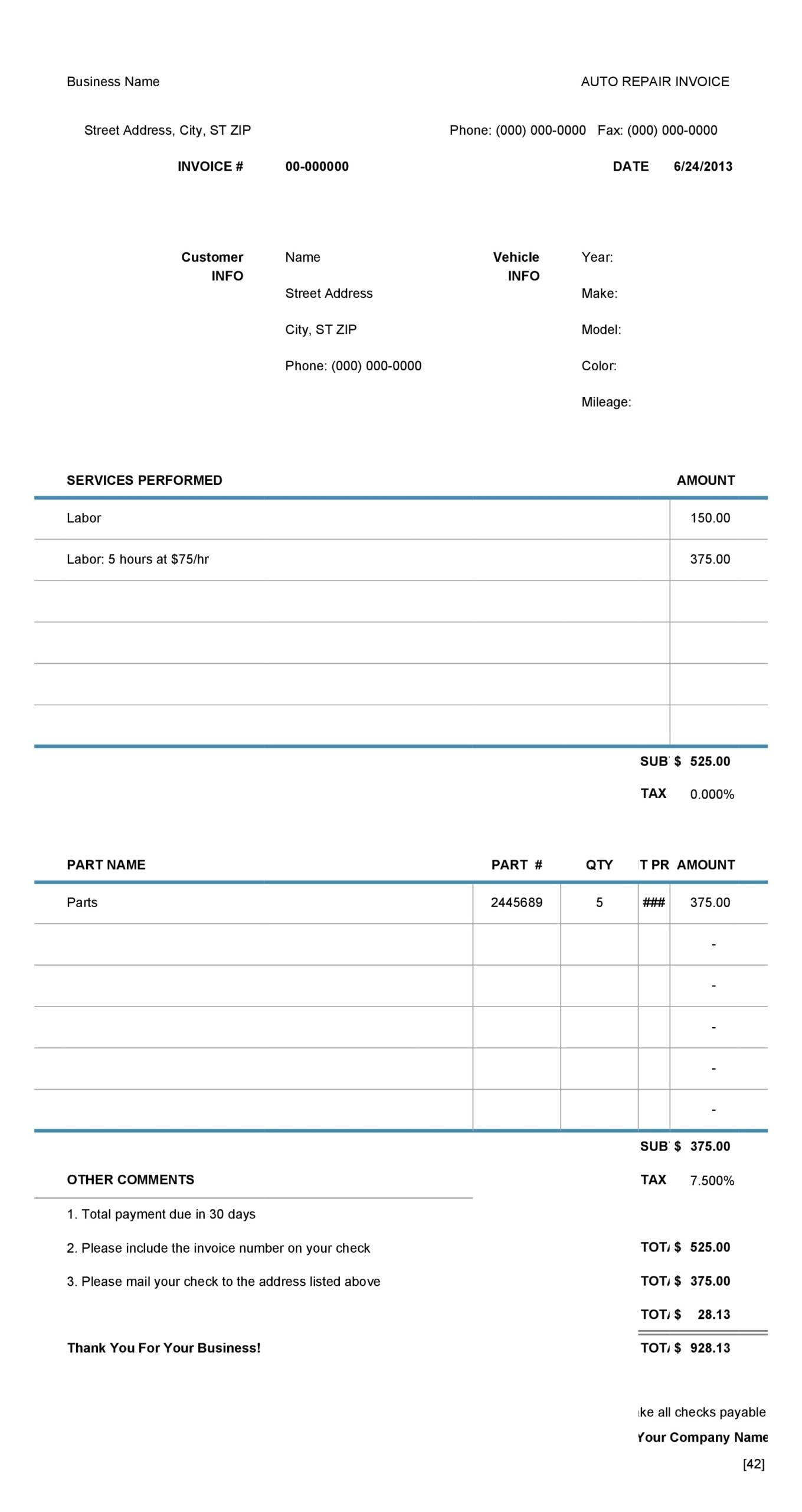 auto repair invoice 08