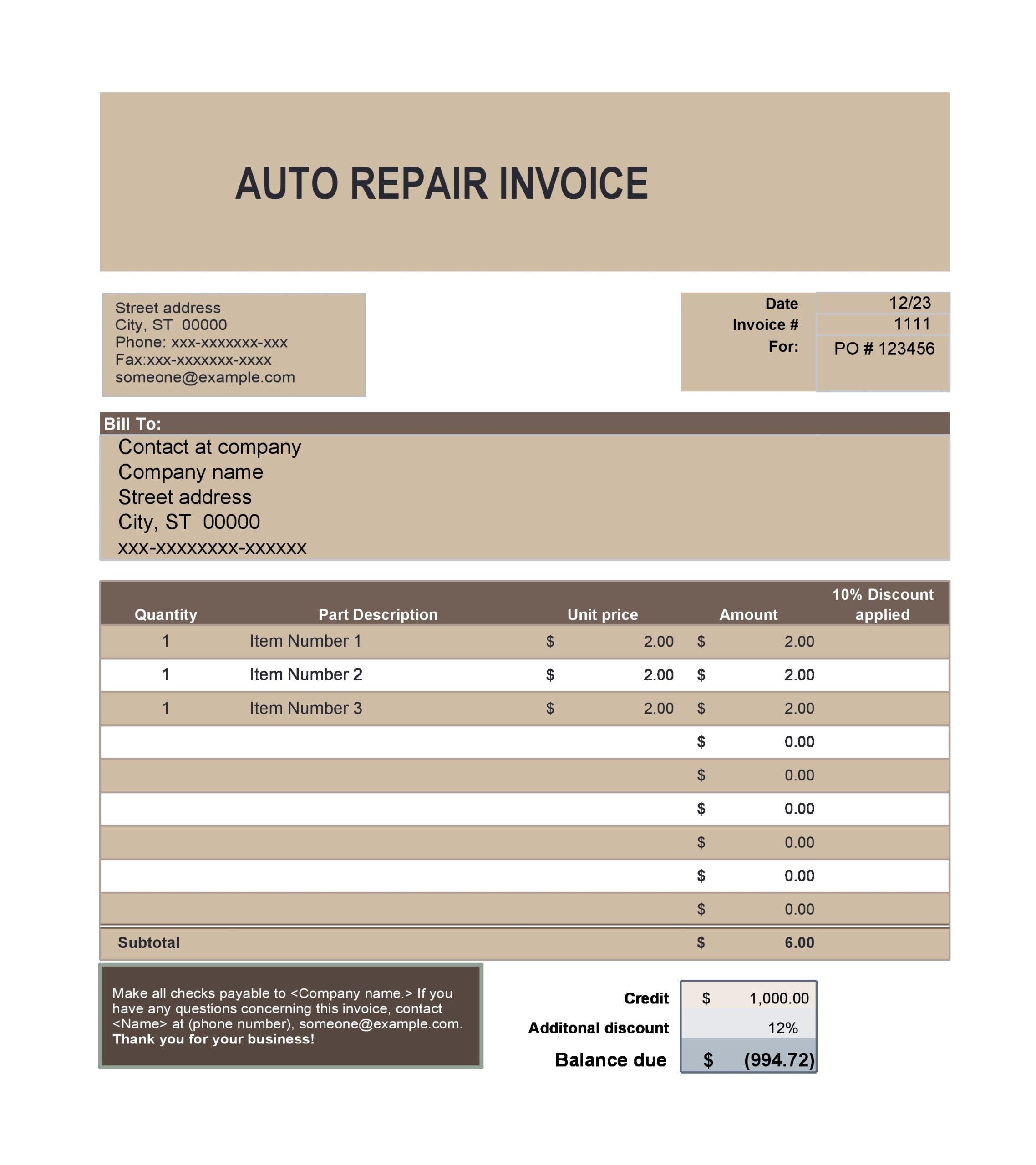 auto repair invoice 09