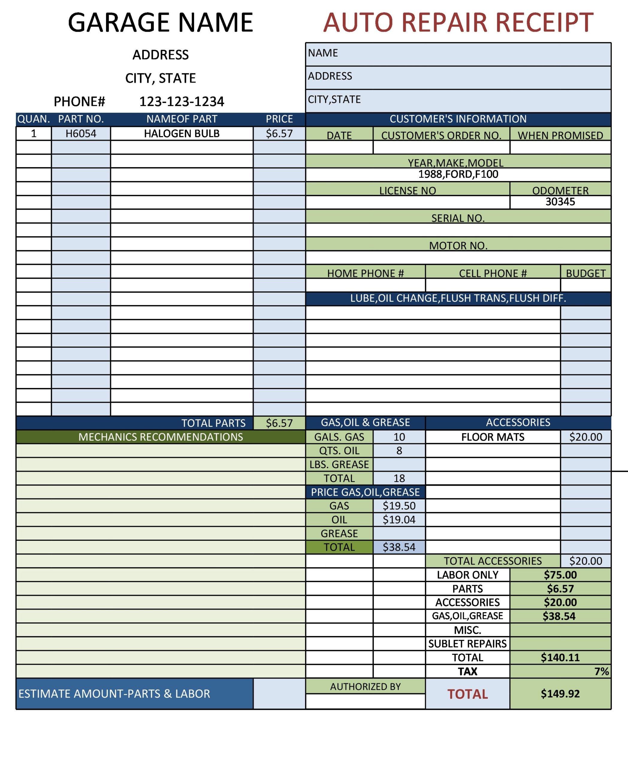 auto repair invoice 10