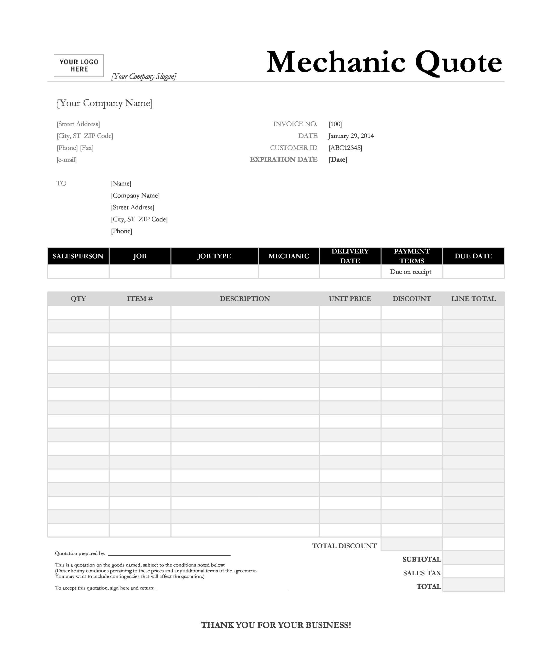 auto repair invoice 11