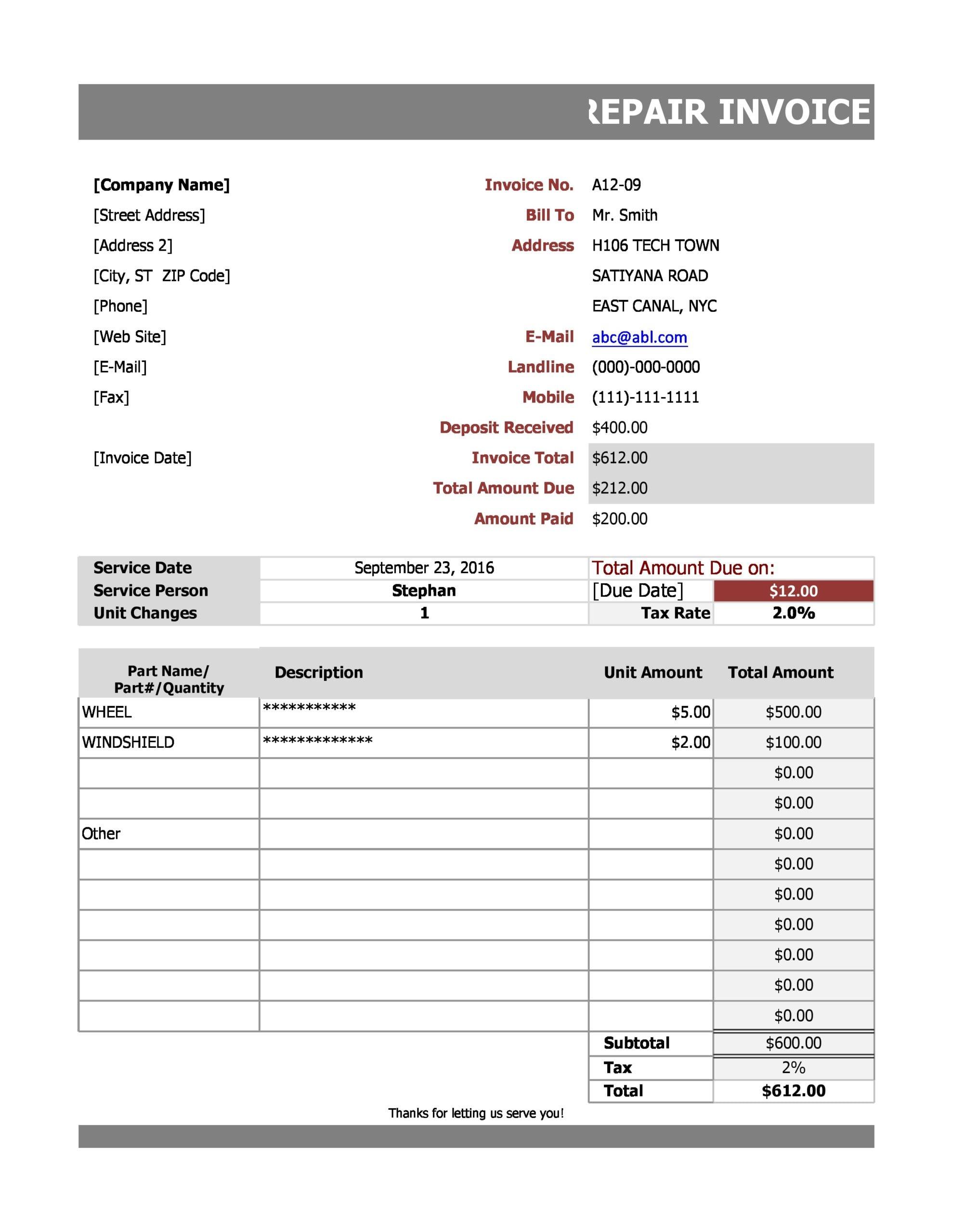 auto repair invoice 17